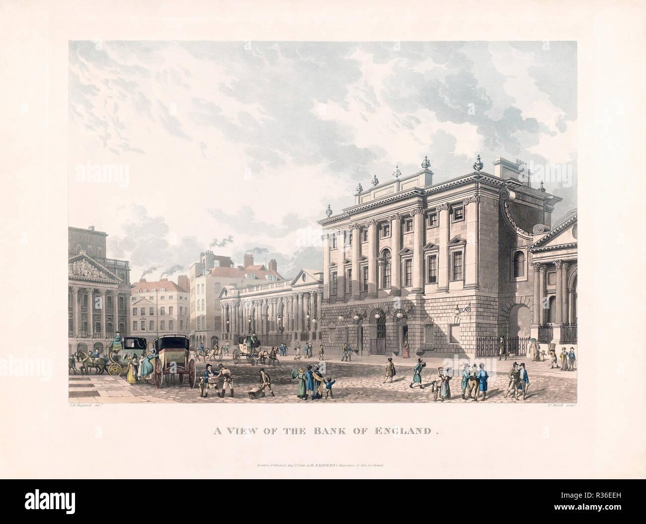 Una vista del Banco de Inglaterra, en Londres, en el diecinueveavo siglo temprano. A partir de un grabado por Daniel Havell fecha de 1816, después de Thomas Homer pastor Imagen De Stock