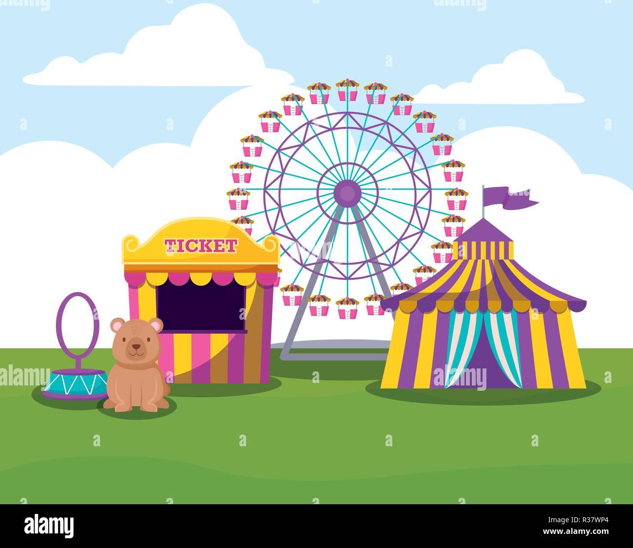 Carpa del circo con la rueda panorámica y lindo oso diseño ilustración  vectorial Imagen De Stock 99cc33ef0bb