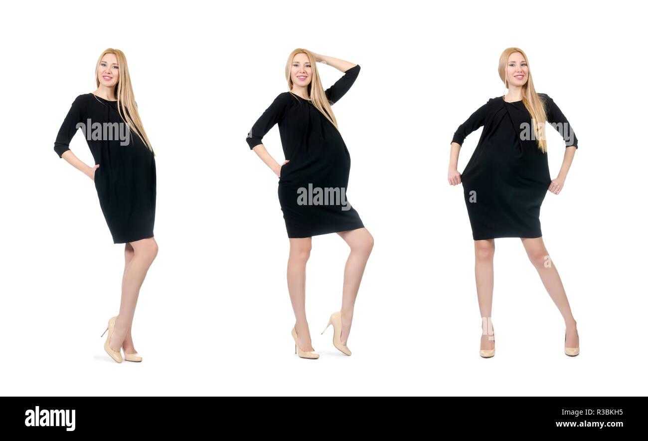 46591aa6c Hermosa mujer embarazada en mini vestido negro aislado en blanco · Elnur  Amikishiyev   Alamy Foto de stock