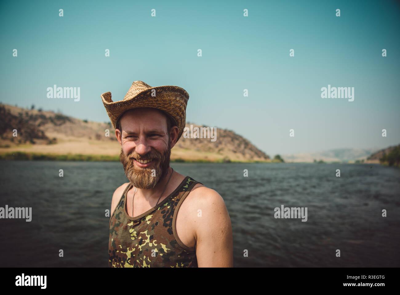 Man Beard In Cowboy Hat Imágenes De Stock & Man Beard In