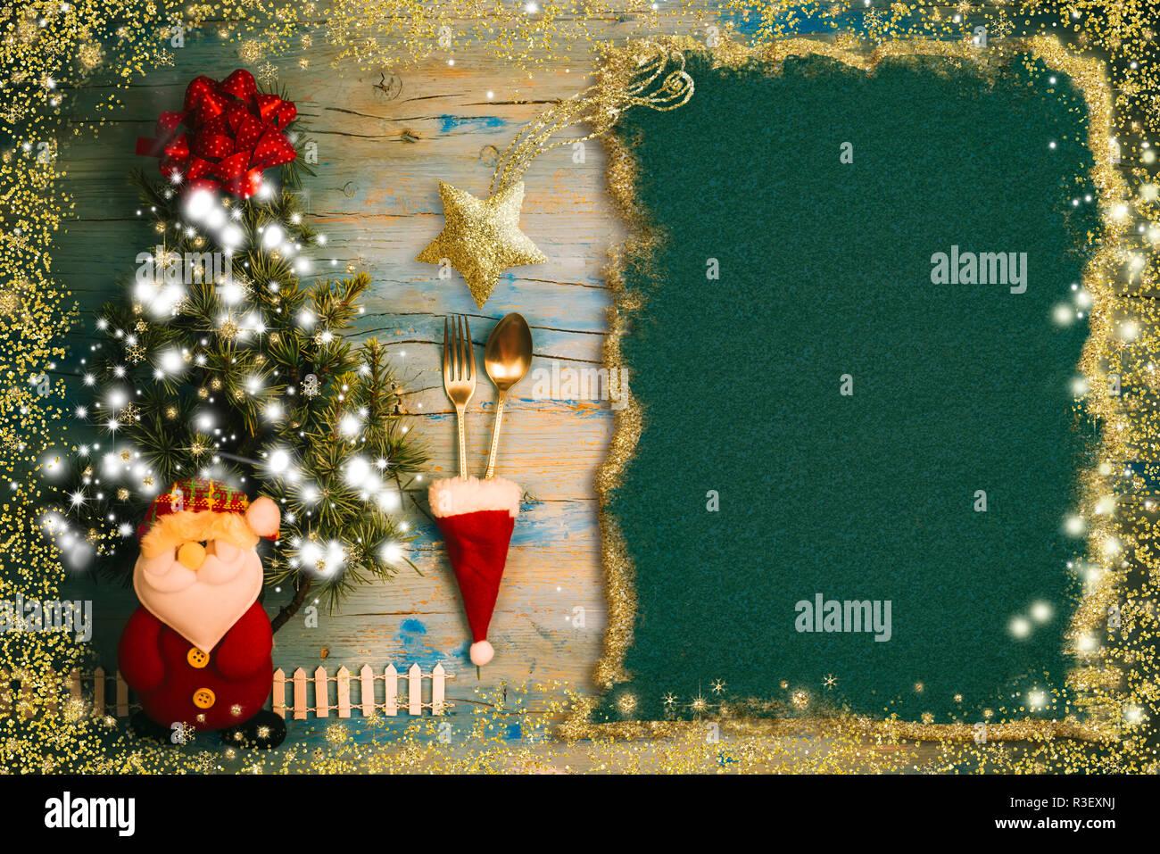 Linda Invitación De Fondo Para El Menú De Navidad Papel En