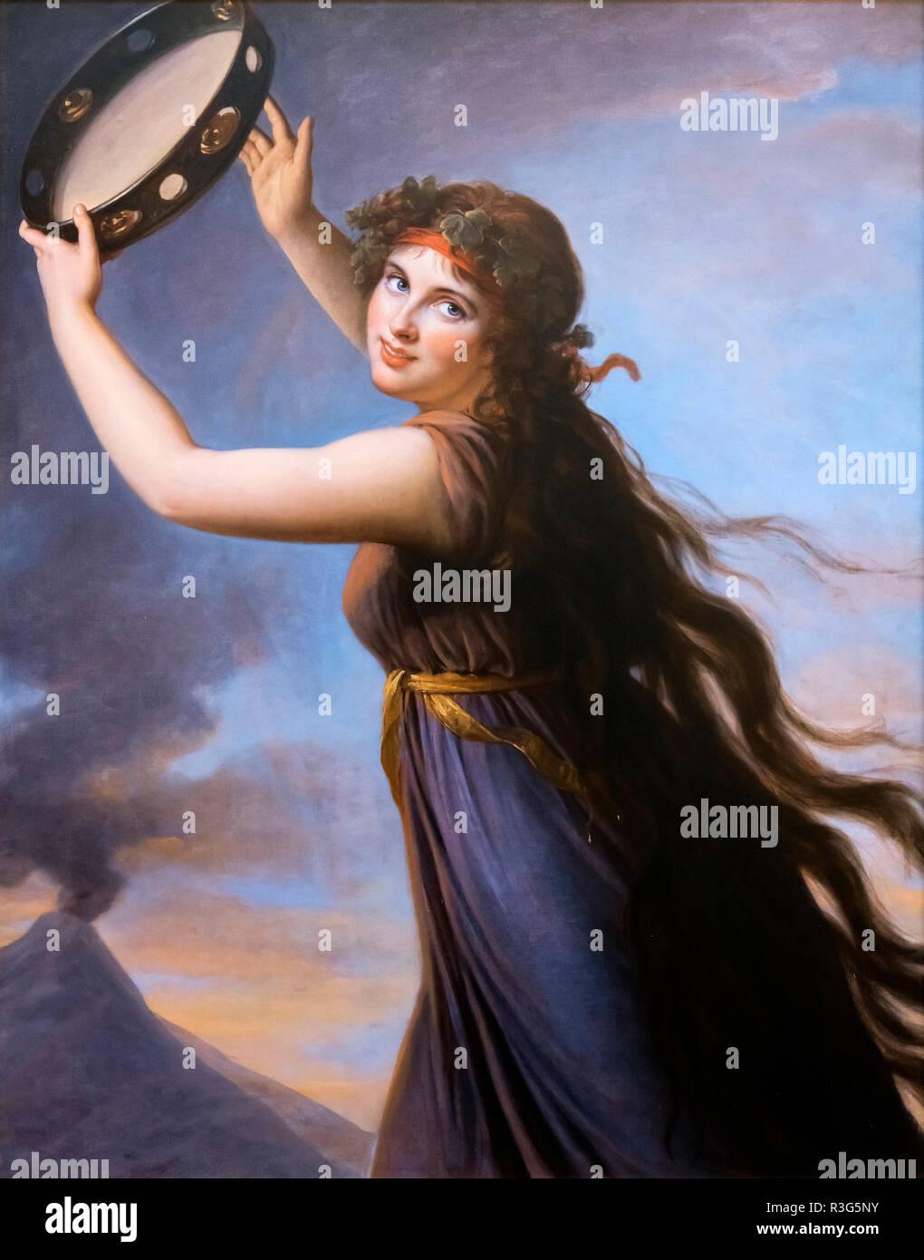 Lady Emma Hamilton (1765-1815). Retrato titulado 'Lady Hamilton como Bachante' por Élisabeth Vigée Le Brun (1755-1842), óleo sobre lienzo, 1790-92 Imagen De Stock