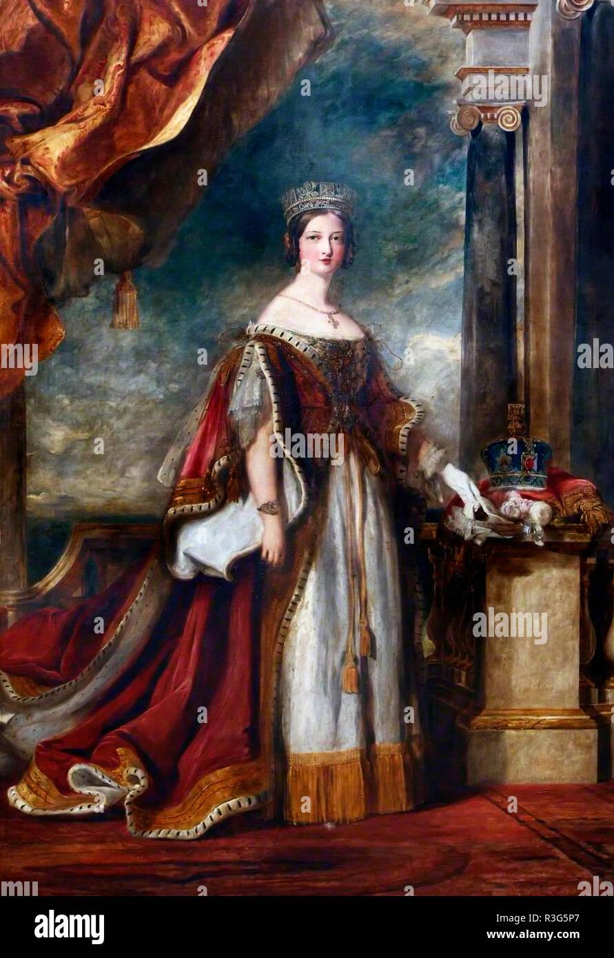 La reina Victoria como una mujer joven. Retrato de David Wilkie, óleo sobre lienzo, 1840 Imagen De Stock