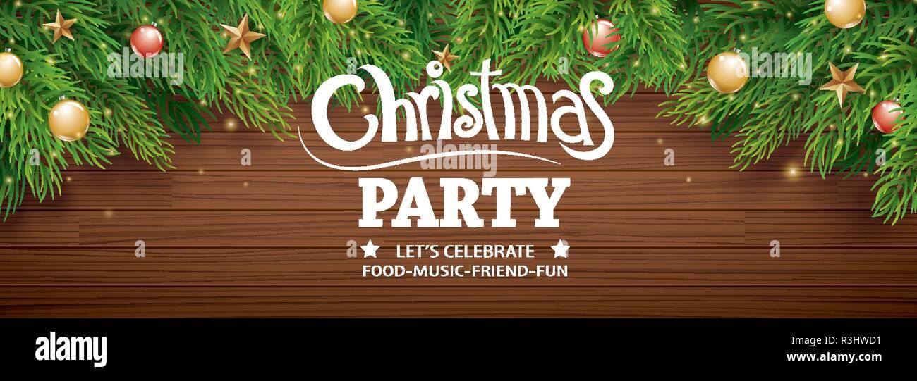 Invitación Feliz Navidad Parte Poster Banner Y Plantilla De