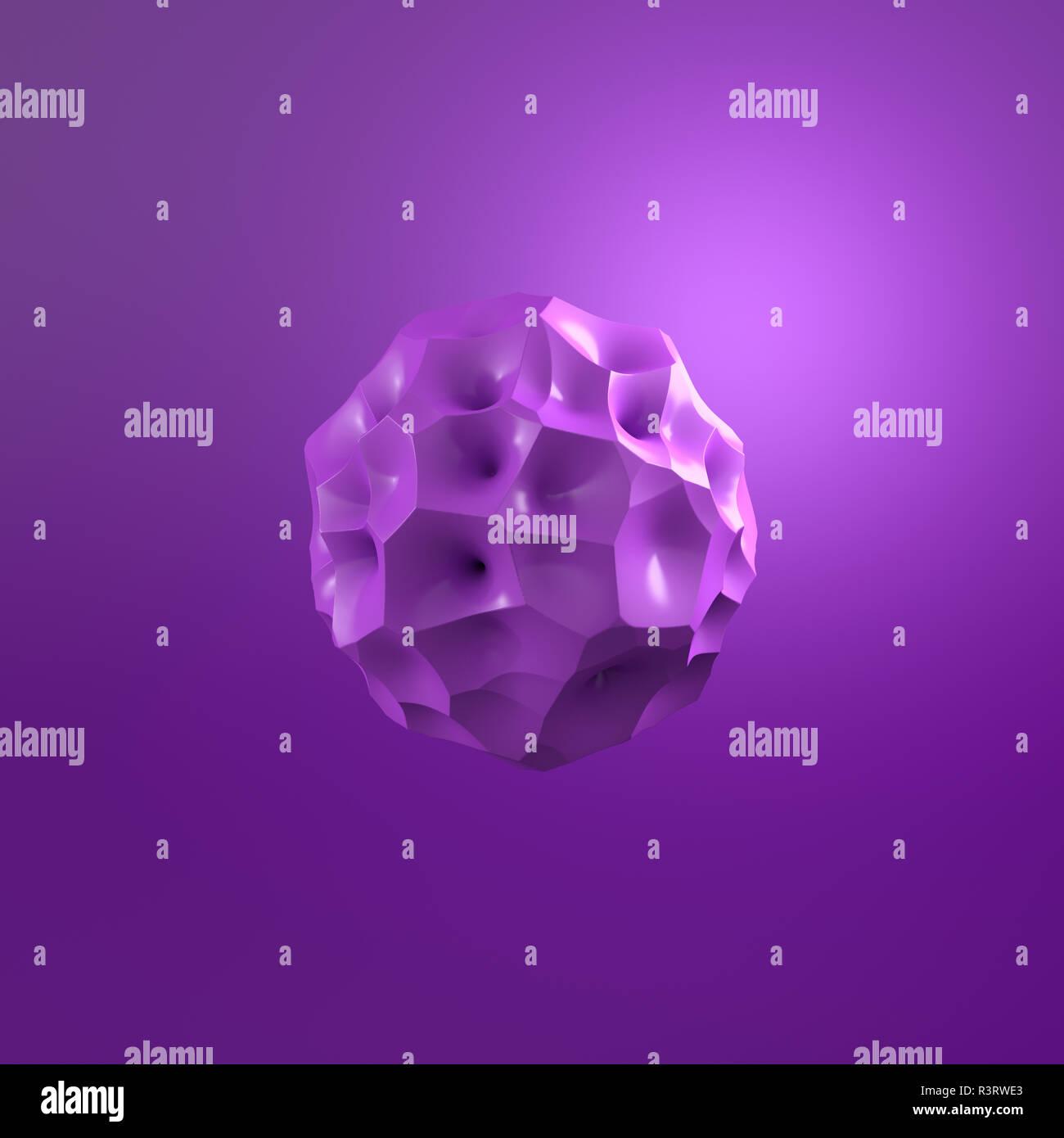 3D Rendering, Púrpura molécula contra fondo púrpura Foto de stock