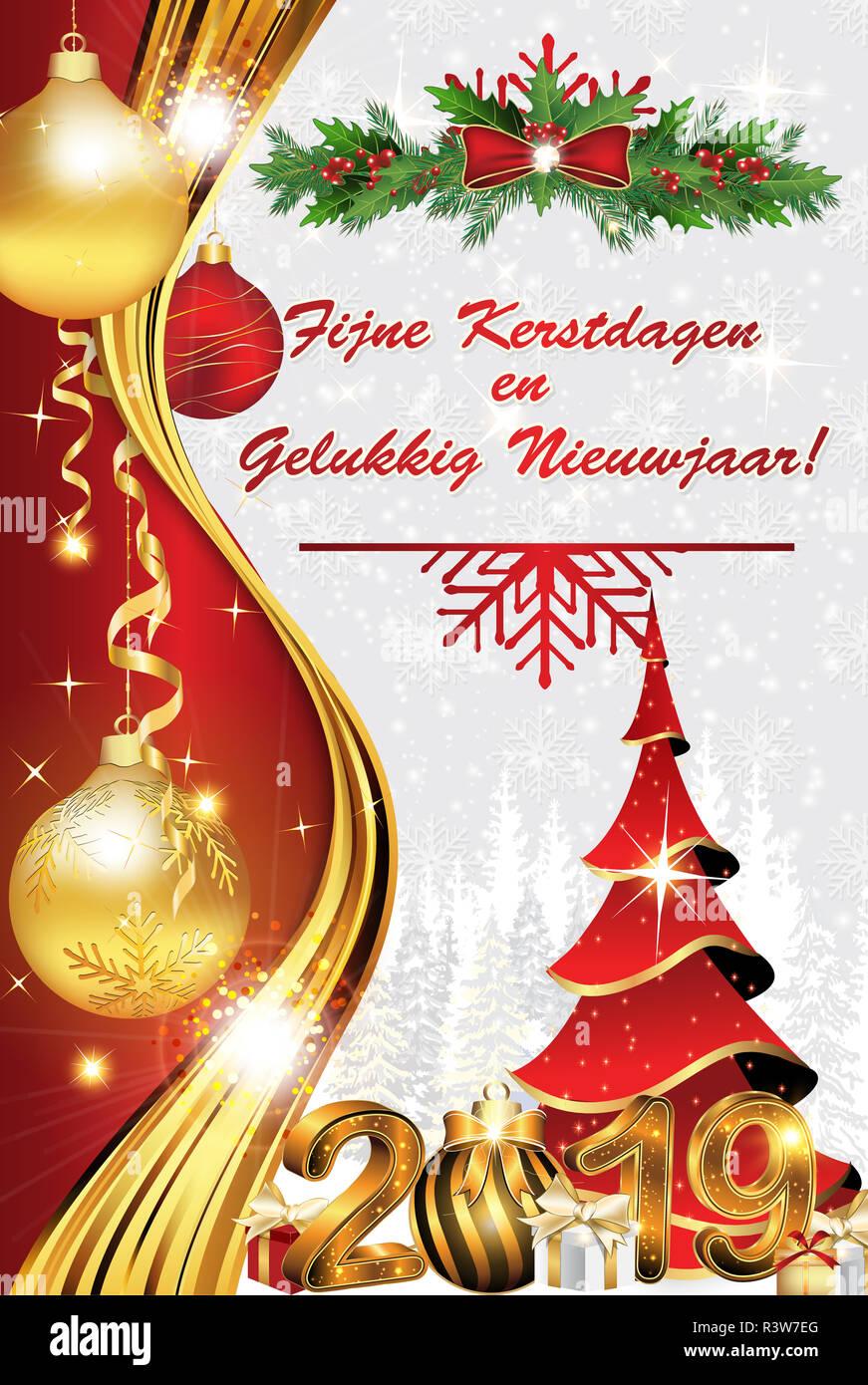 Felicitaciones Para Navidad 2019.Feliz Navidad Y Un Feliz Ano Nuevo 2019 Escrito En Holandes