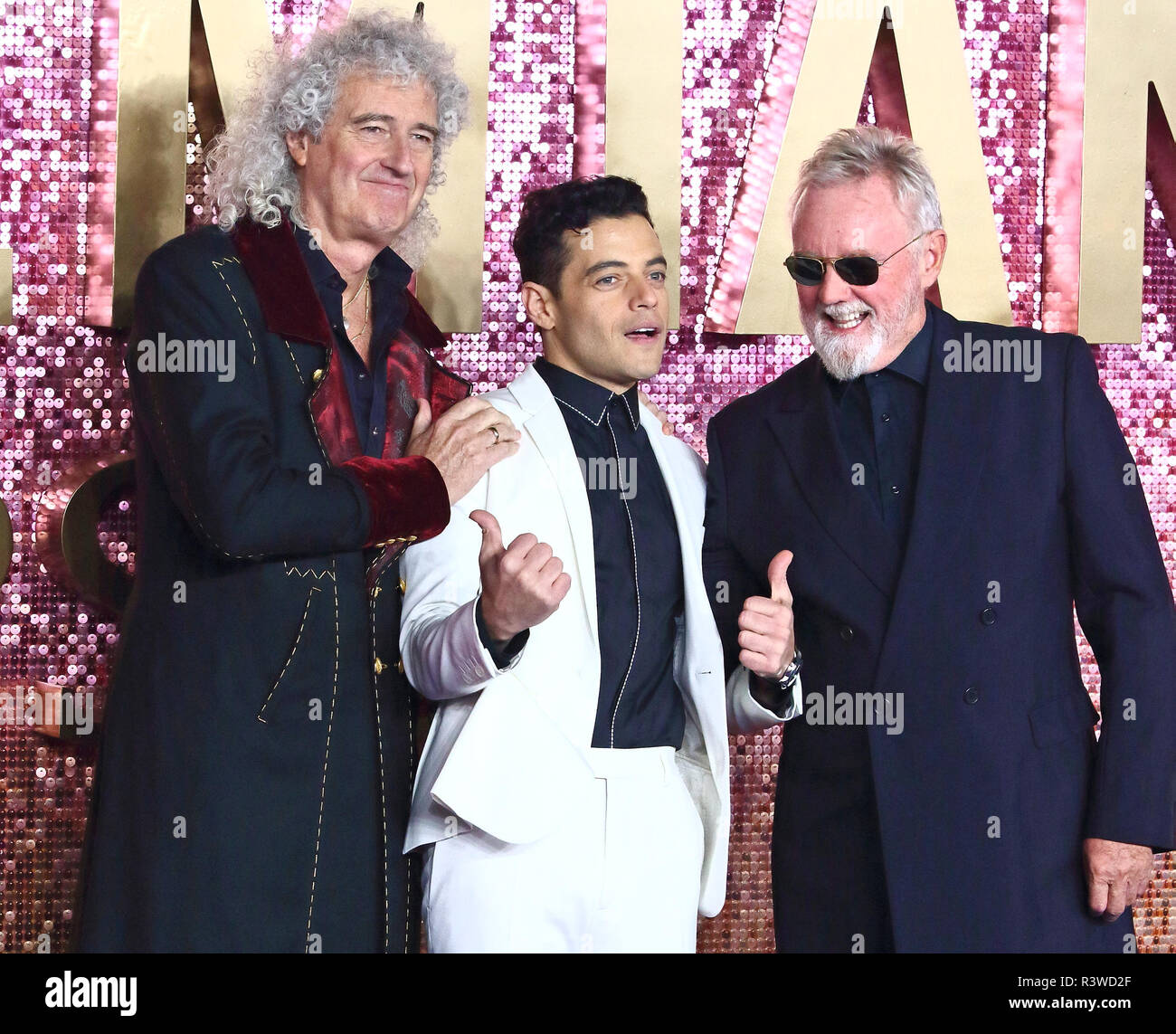 Bohemian Rhapsody estreno británico en el SSE Wembley Arena, Londres con: Brian May, Rami Malek, Roger Taylor donde: Londres, Reino Unido cuando: 23 Oct 2018 Crédito: WENN.com Imagen De Stock