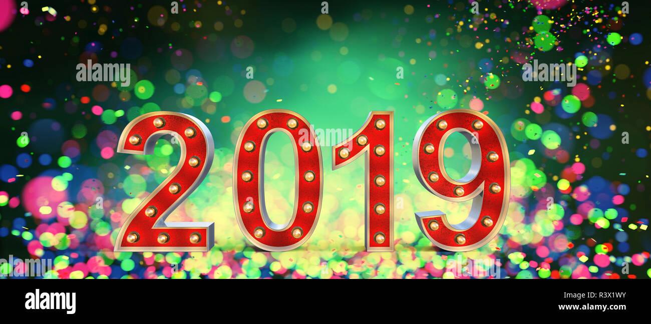 2019 Feliz año nuevo número de cartas de marquesina en coloridas luces borrosa antecedentes,3d ilustración Imagen De Stock