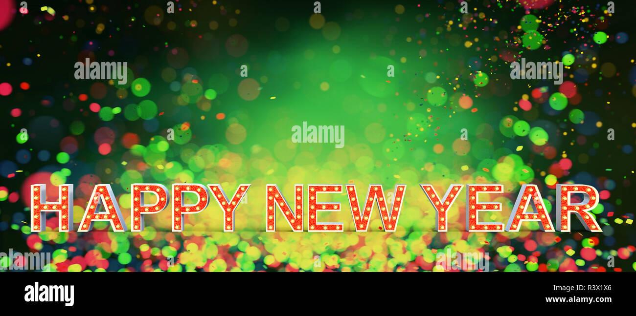 Feliz año nuevo número de cartas de marquesina en coloridas luces borrosa antecedentes,3d ilustración Imagen De Stock
