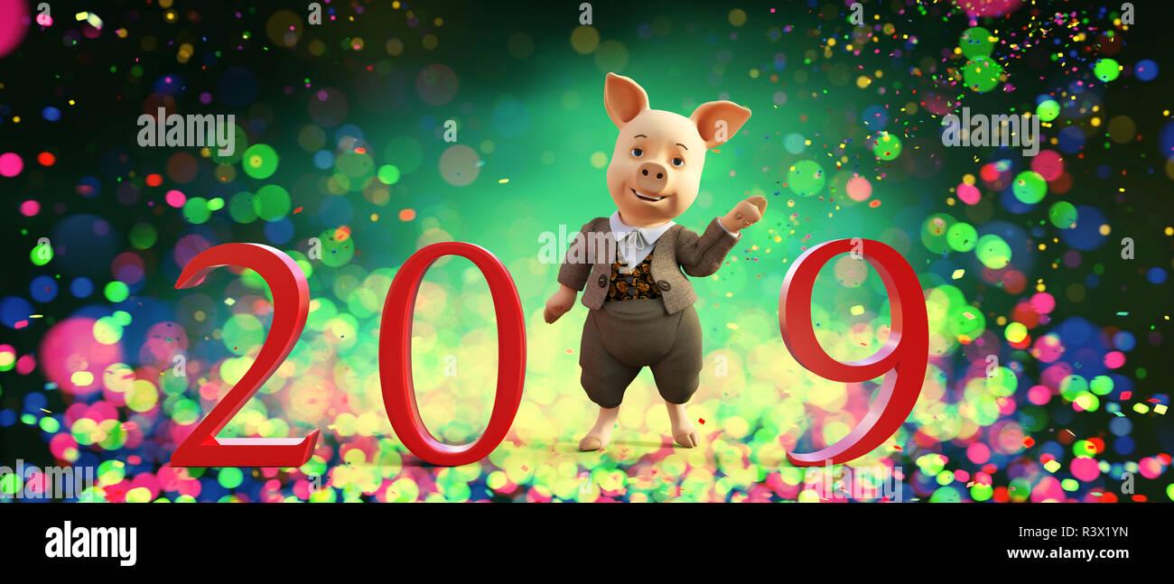 Feliz cartoon cerdo con 2019 cartas de feliz año nuevo,como 2019 es el año del cerdo,3d ilustración Imagen De Stock