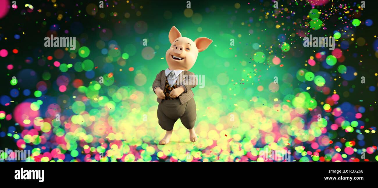 Feliz cartoon cerdo coloridas luces borrosa antecedentes,como 2019 es el año del cerdo esta imagen puede encaja tus ideas,3d ilustración Imagen De Stock