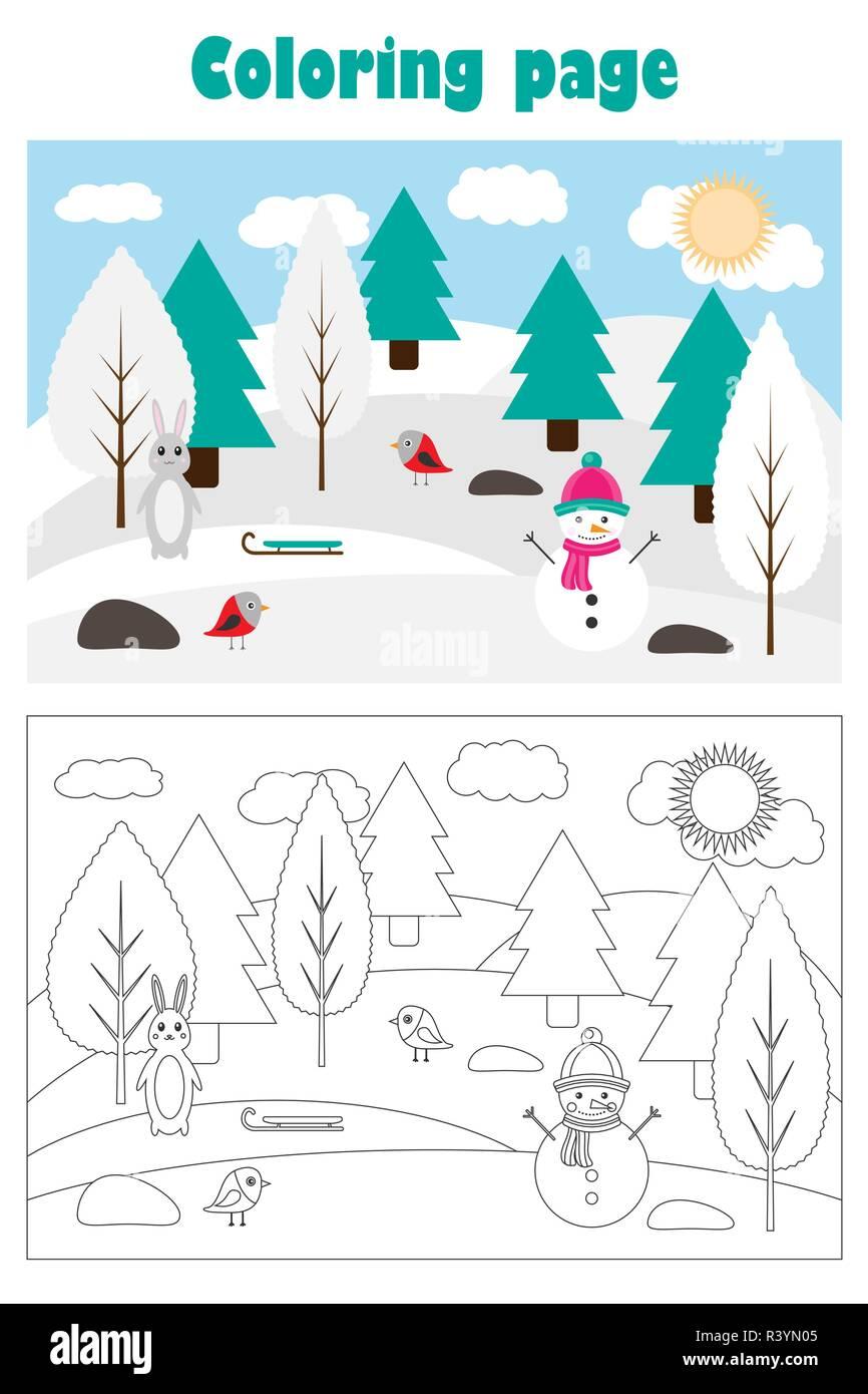 Imagen De Navidad Con Bosque Nevado En El Estilo De Dibujos