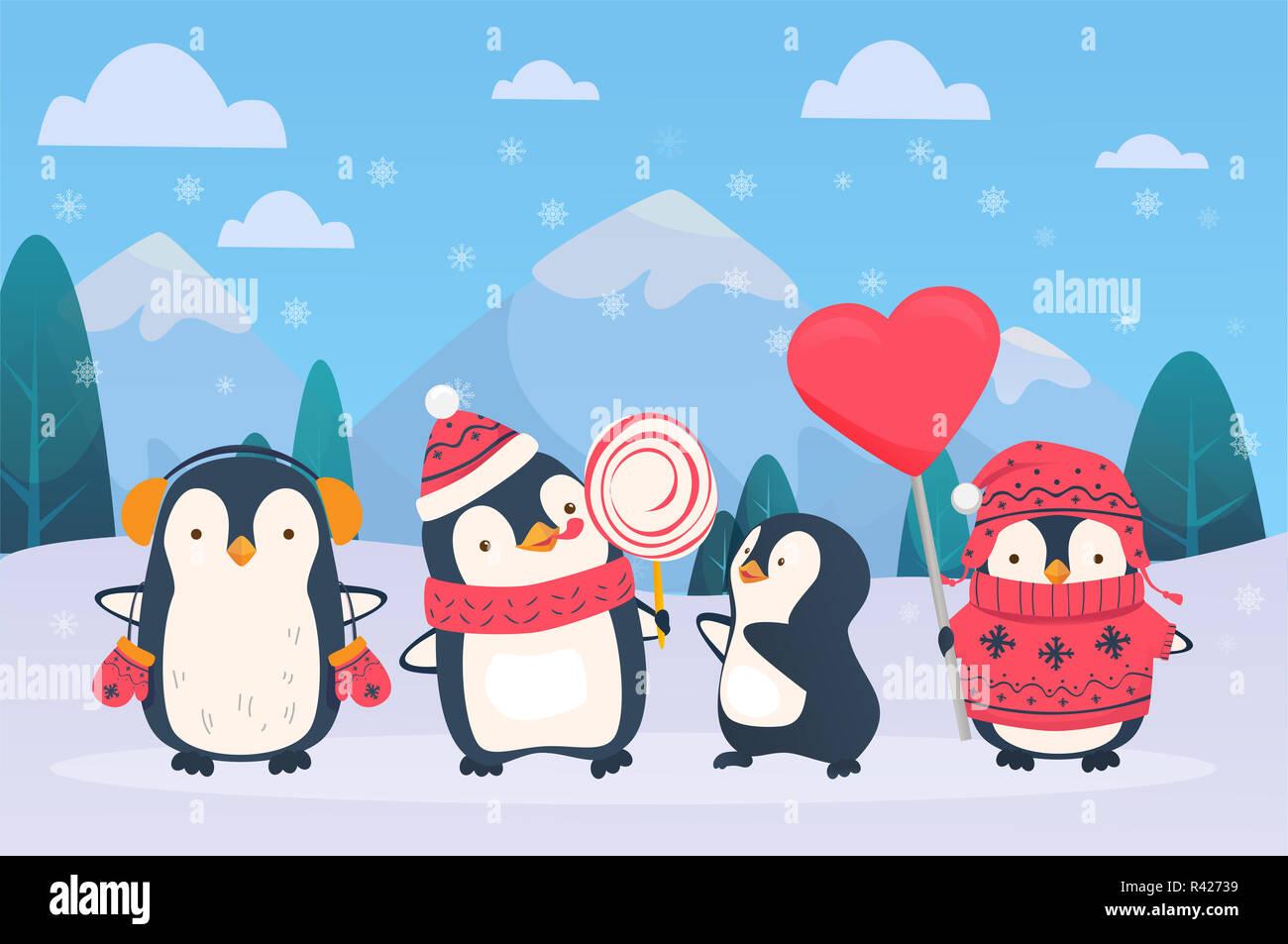 Los Pingüinos De Navidad Con Nieve De Fondo Cute Dibujos Animados
