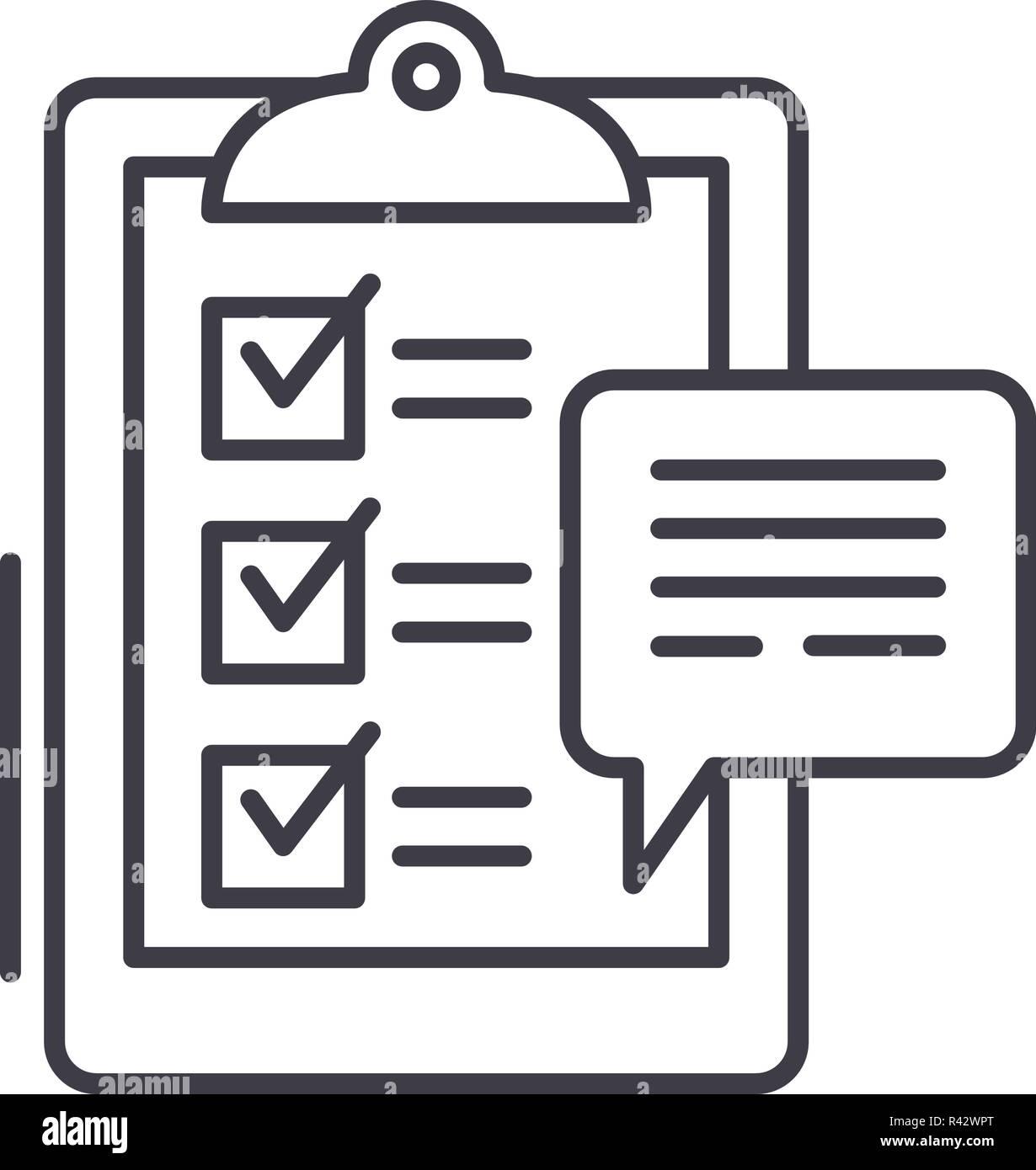 Icono de línea de encuestas a clientes de concepto. Las encuestas de los clientes de vector Ilustración lineal, símbolo, signo Ilustración del Vector