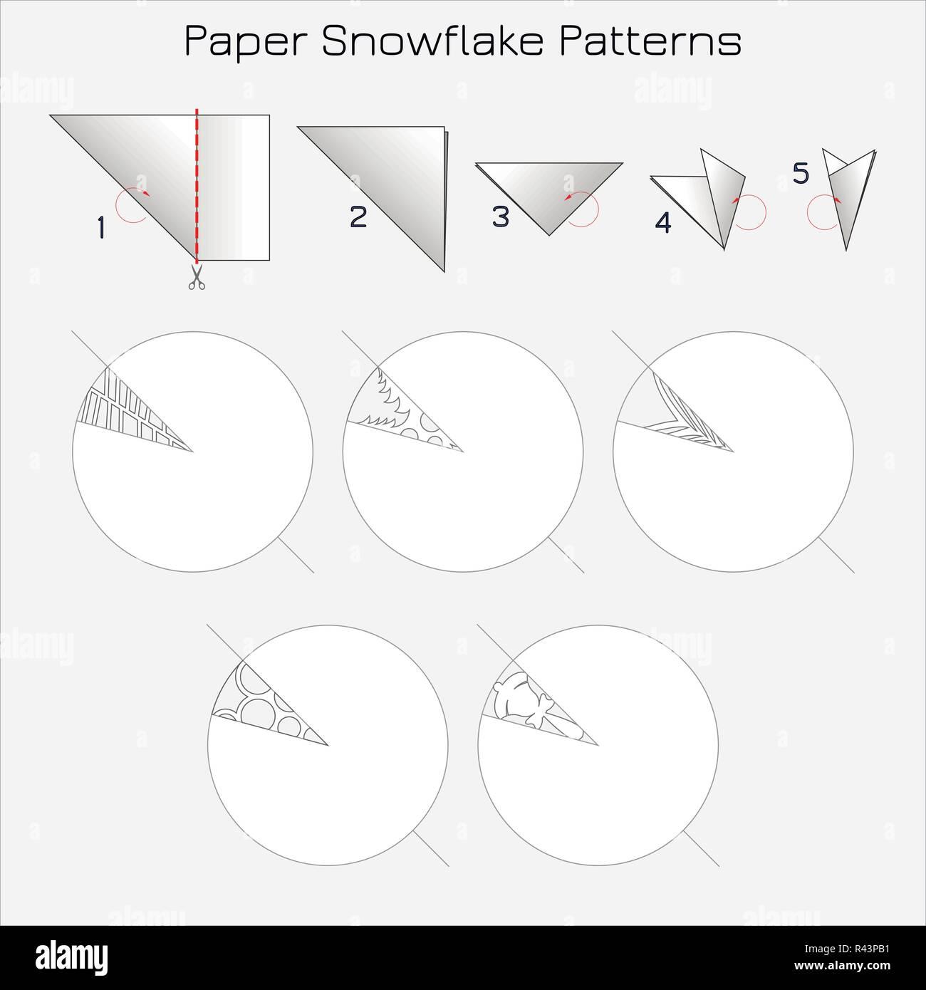 Cortar Patrones De Copos De Nieve De Papel Instrucciones Paso A
