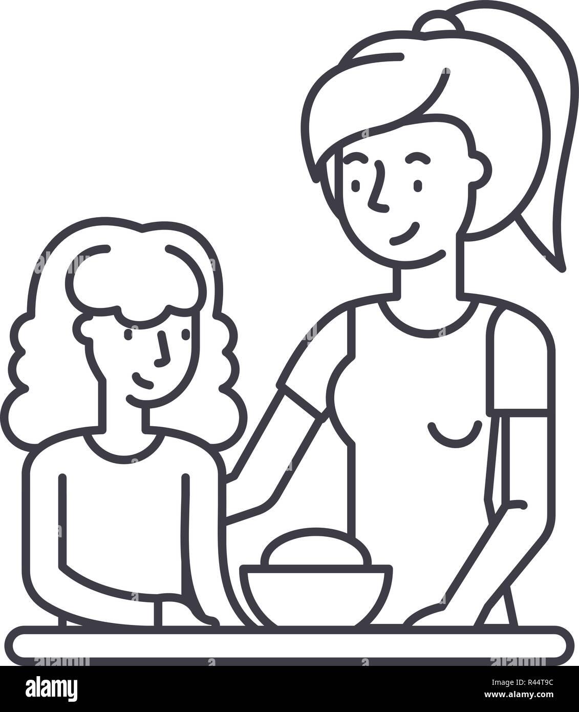 Madre E Hija Line Icono Concepto Madre E Hija Vector Ilustración