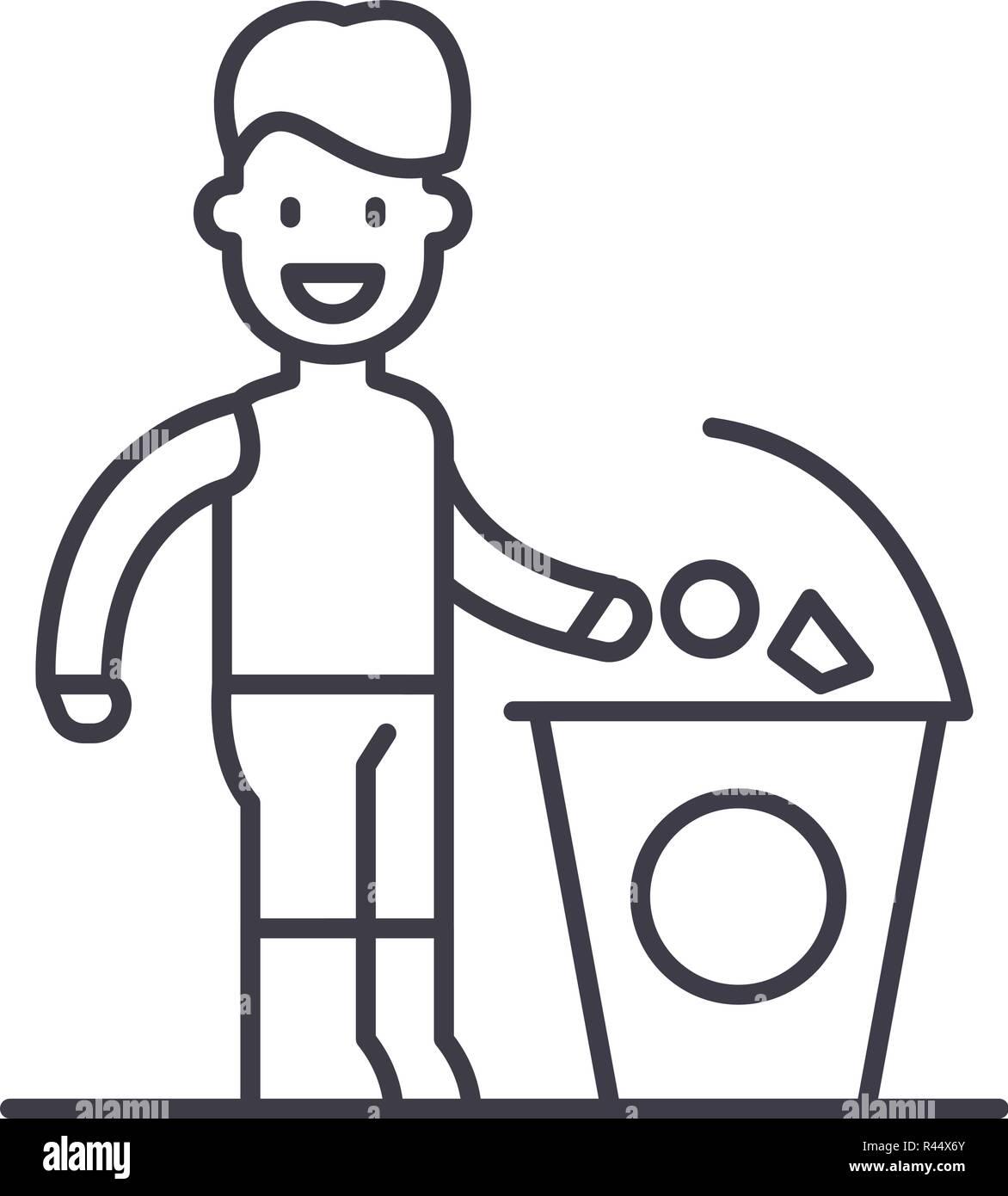 422c106056df Icono de línea de separación de la basura concepto. Separar la basura  vector Ilustración lineal