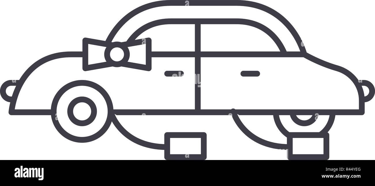 1abc5e5788 Icono de línea de coche nupcial concepto. Coche de boda vector Ilustración  lineal