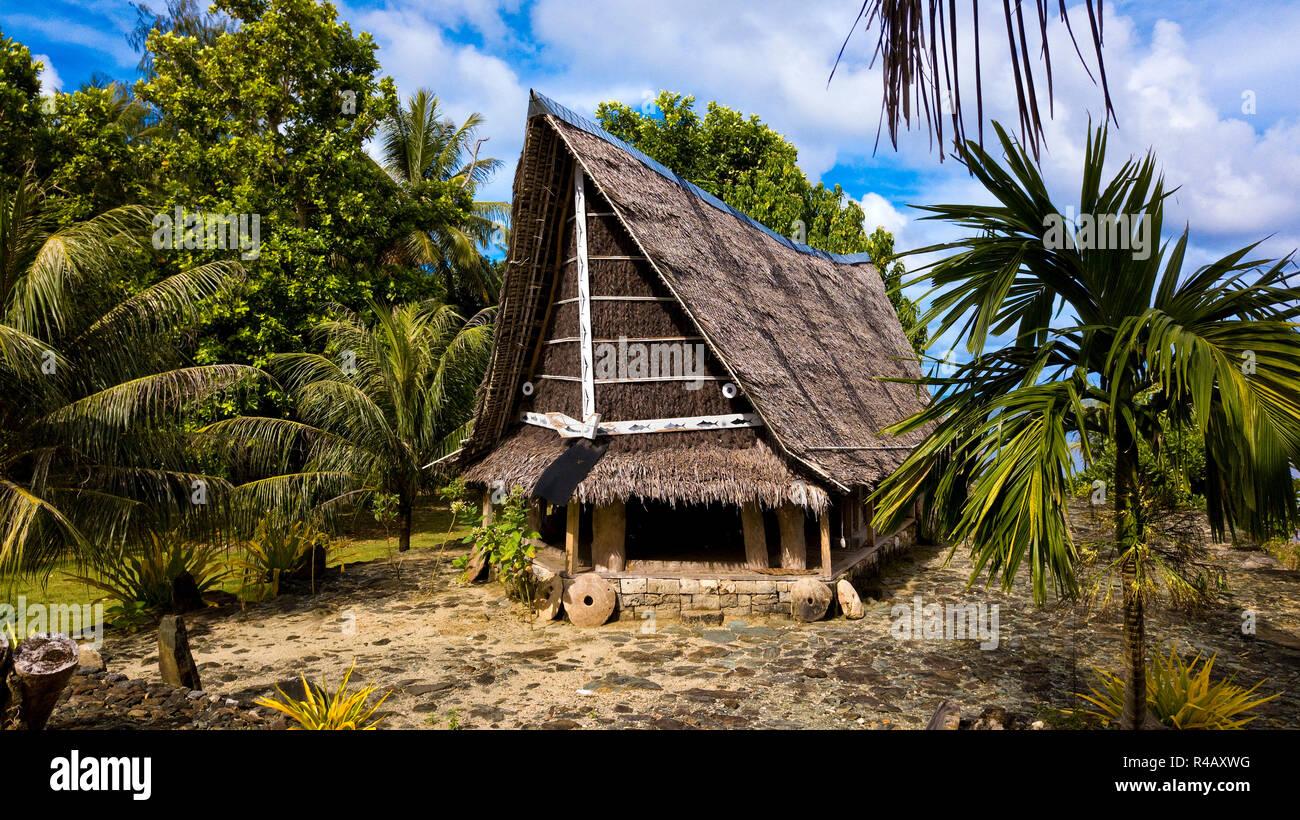 La Isla Yap, hombres de la casa, Yap, Caroline Islands, Estados Federados de Micronesia Foto de stock