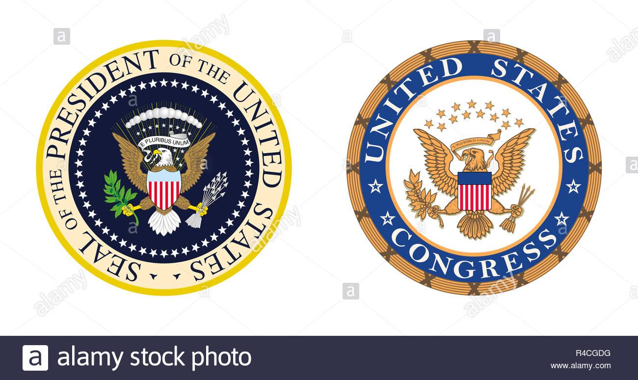 La política de los Estados Unidos - y el Congreso presidencial símbolo del logotipo Imagen De Stock