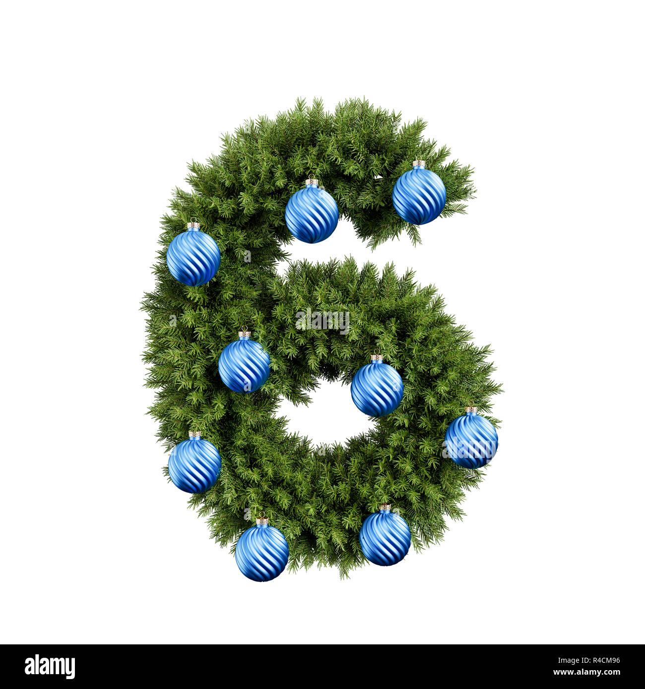 Alfabeto De Navidad Abc 6 Dígitos Seis Fuentes Con Bola De