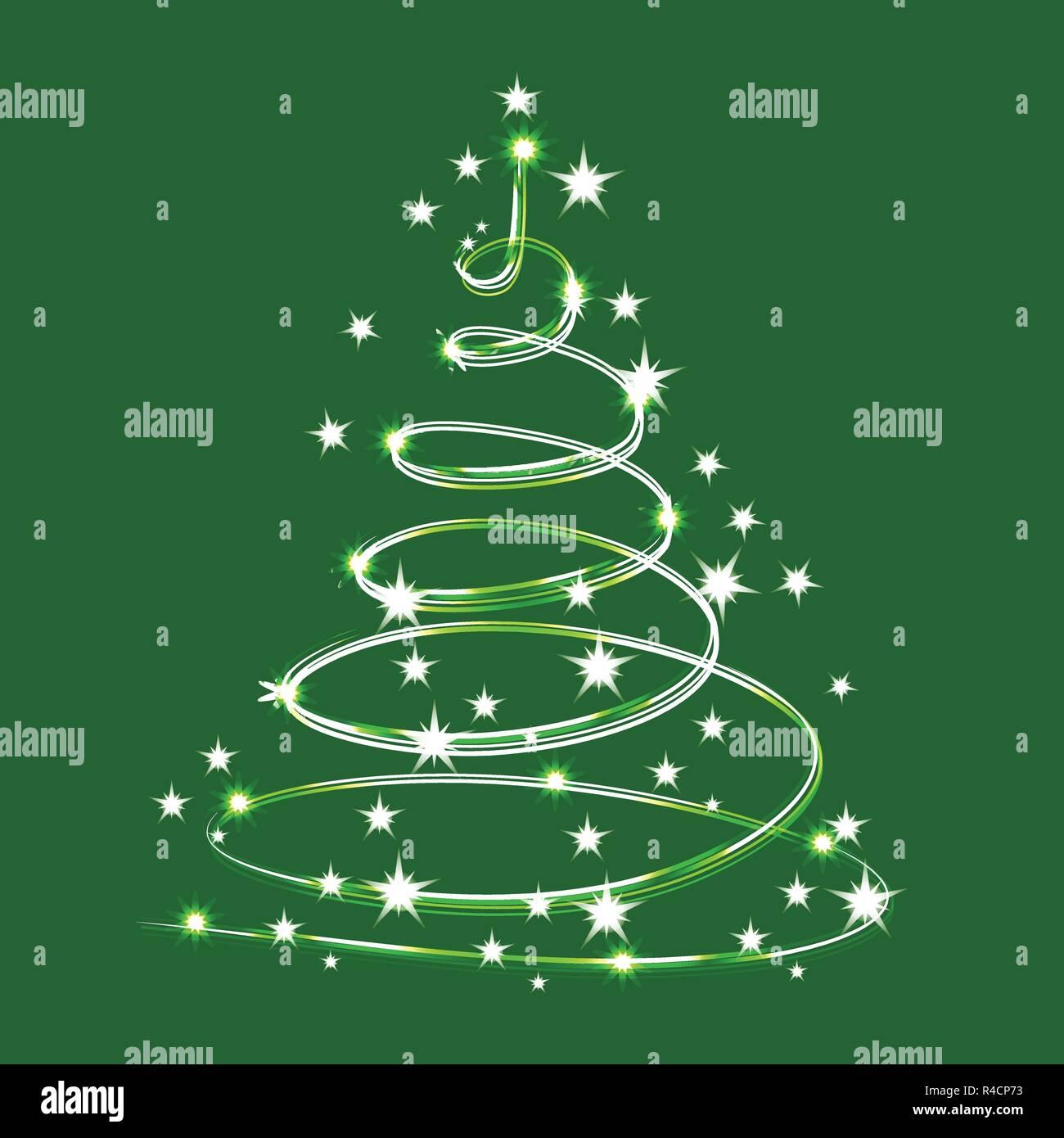 árbol De Navidad Destellos De Brillantes Estrellas Vector