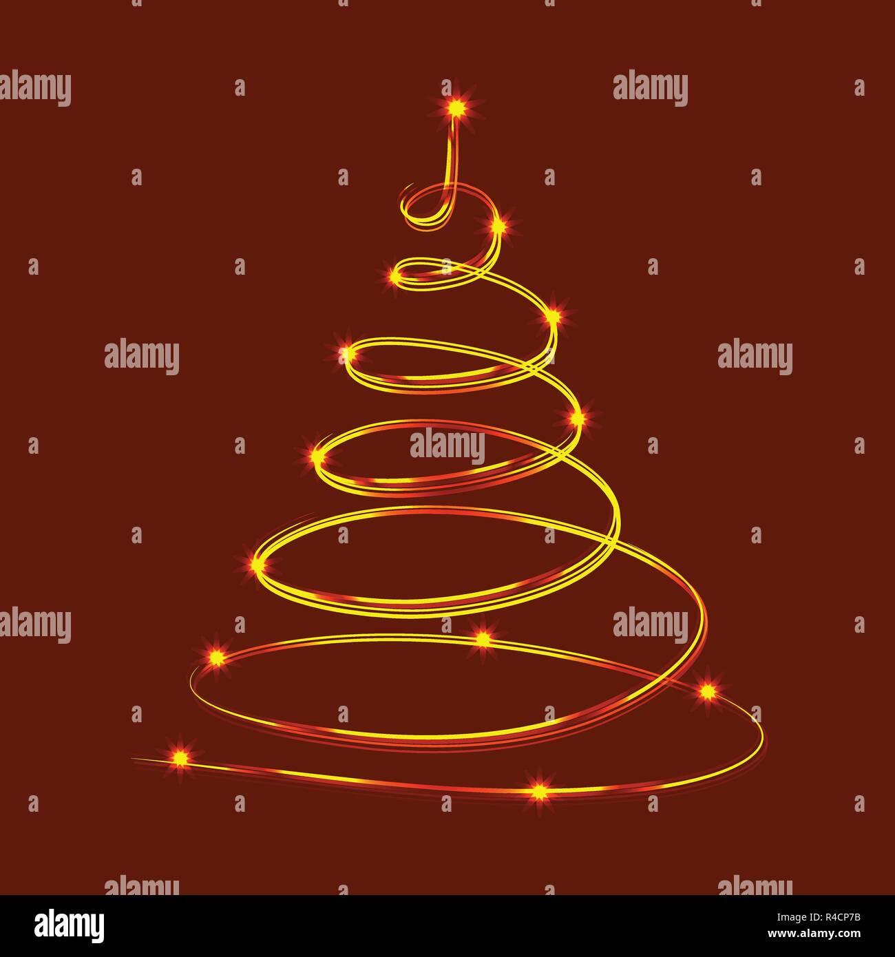 árbol De Navidad Con Neón Brillantes Estrellas Vector