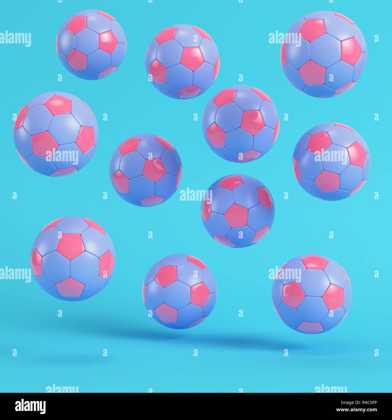Rosa volando pelotas de fútbol sobre fondo azul brillante en colores  pastel. El minimalismo conceptual. 3D Render 1eb53c1158e45