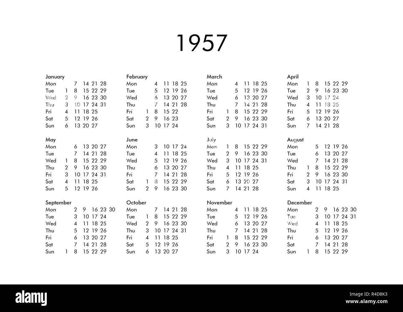 Calendario Del Ano 1957.Calendario Del Ano 1957 Foto Imagen De Stock 226485591