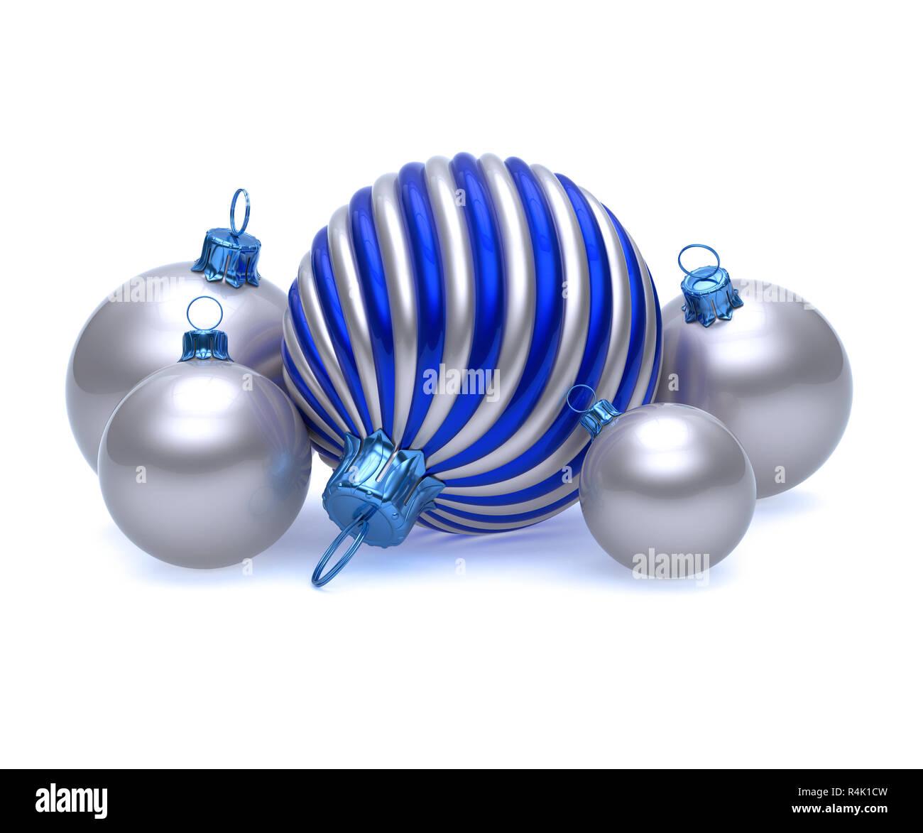 a3725dc59b8 El día de Año Nuevo de Navidad grupo de Bola plateada brillante decoración  azul y blanca
