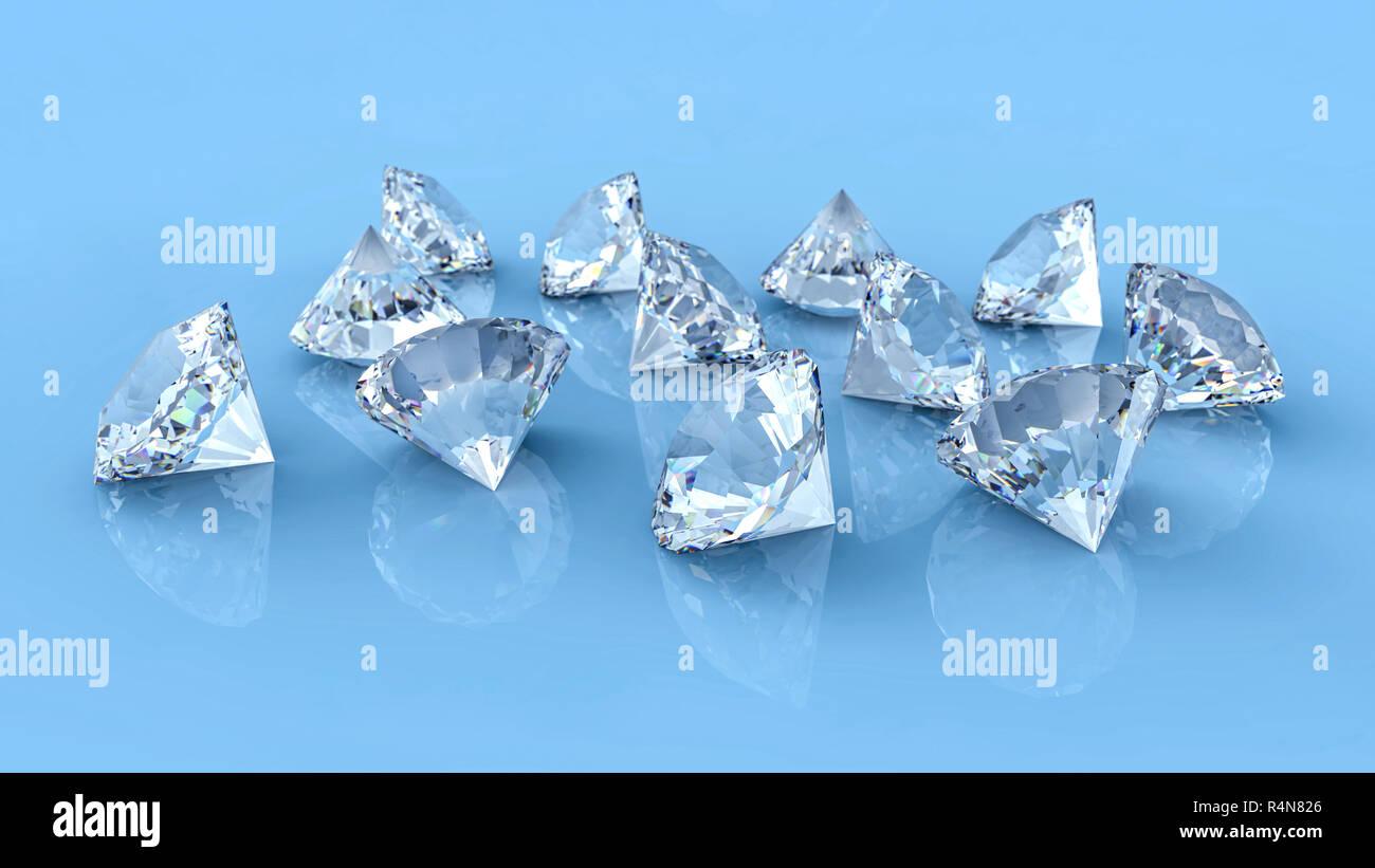 3340ac0d8517 Muchos diamantes derramados sobre azul reflectante de escritorio. De piedra  de la Gema Joyería grupo