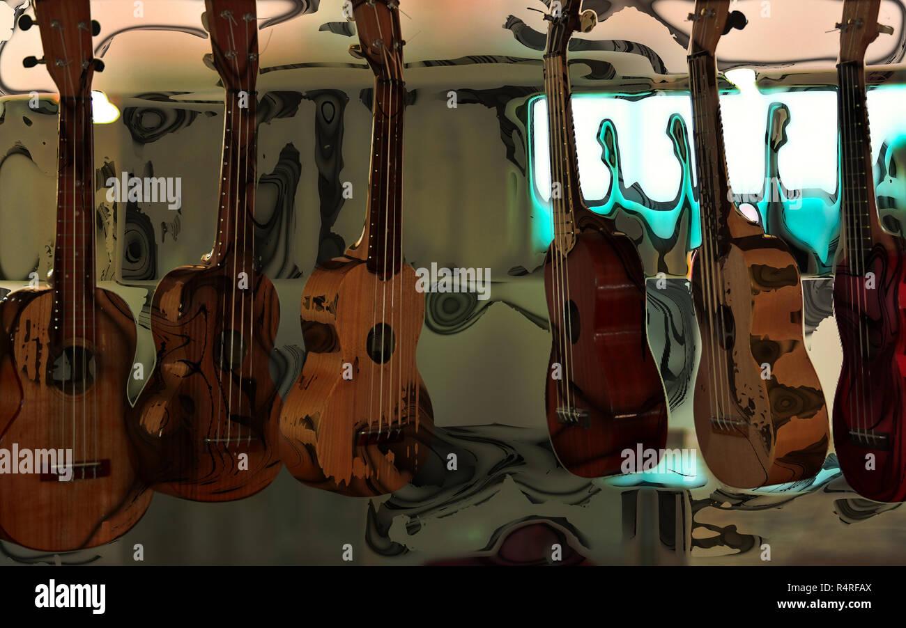 Un grupo de guitarras colgadas Foto de stock