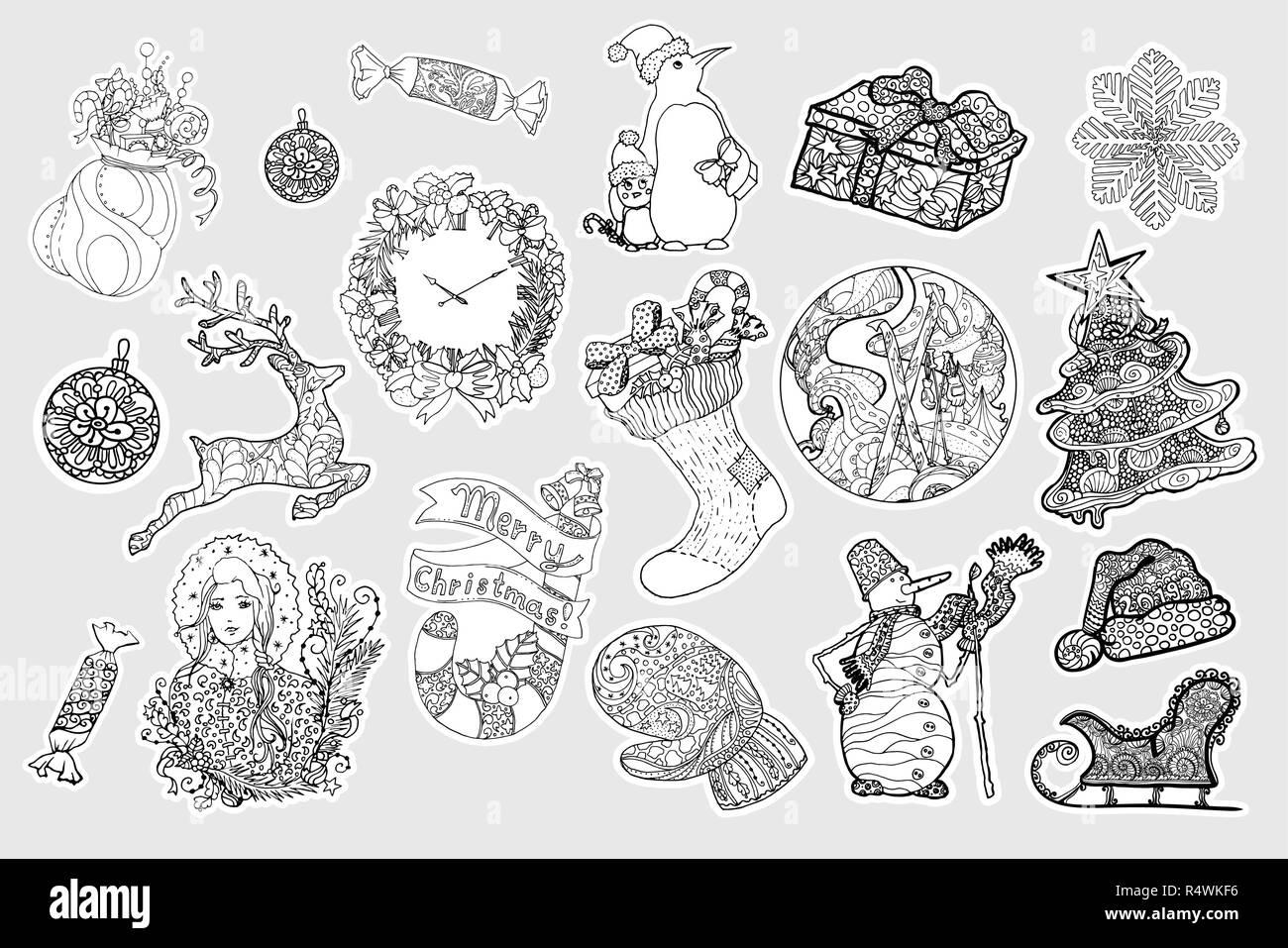 Pegatinas De Invierno Conjunto De Vectores Navidad Año