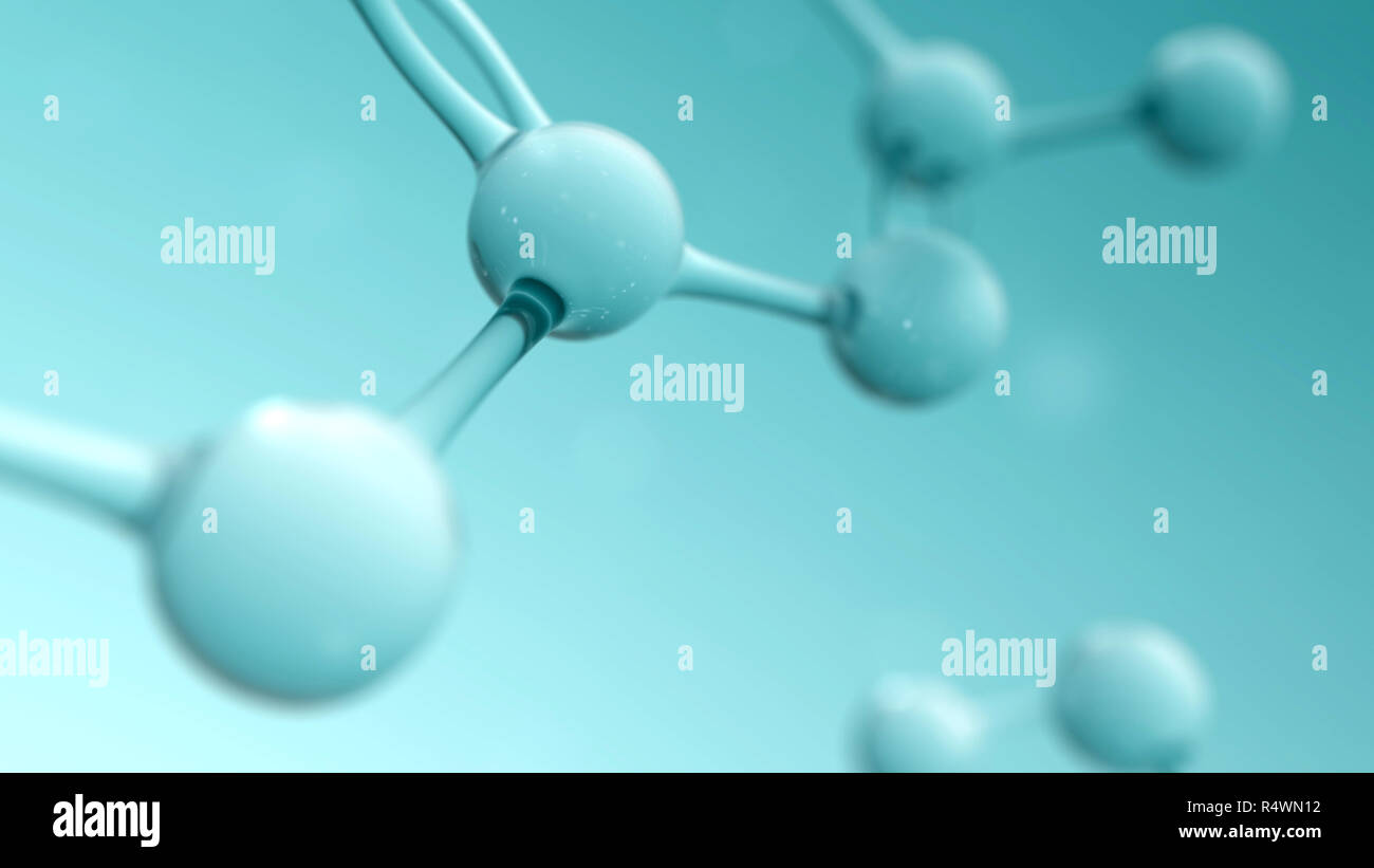 La ciencia y la química bagaje conceptual con el átomo o molécula estructura. 3D Render ilustración Foto de stock