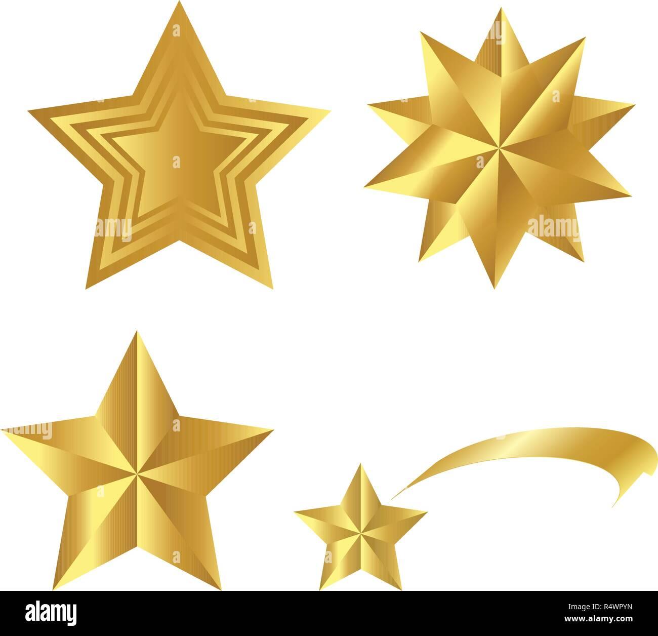 Estrellas Doradas Realista Juego Vectorial Aislado Sobre