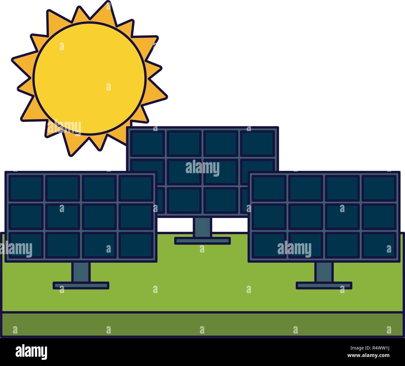 Paneles solares en el campo y el sol detrás Imagen De Stock