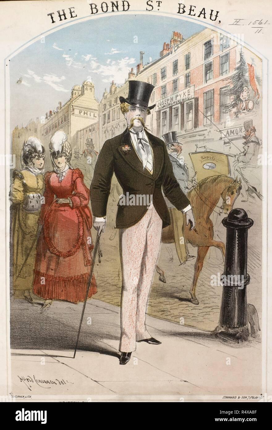 Escena de la calle  el hombre con el sombrero de copa y bastón. Un apuesto  hombre bien vestido en Bond Street 21cd9cf9152