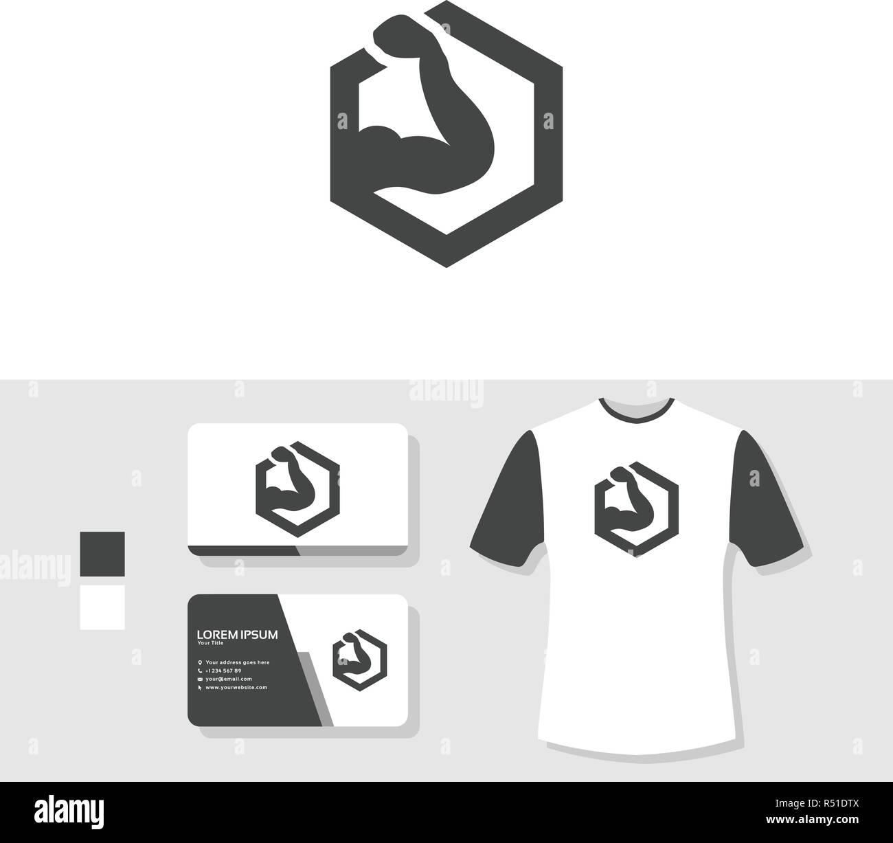 Gimnasio logotipo con tarjeta de negocios y camiseta boceto ... 0ba7f2a1e81a3