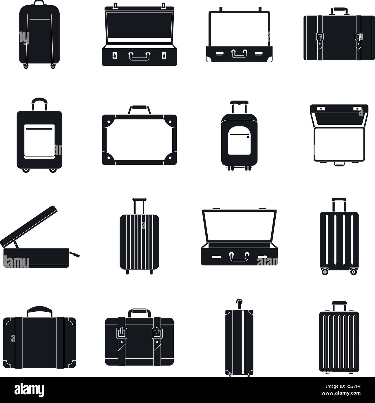 7535597b0 Maleta de Viaje maletín bolsa de equipaje conjunto de iconos. Ilustración  simple de 16 maletas