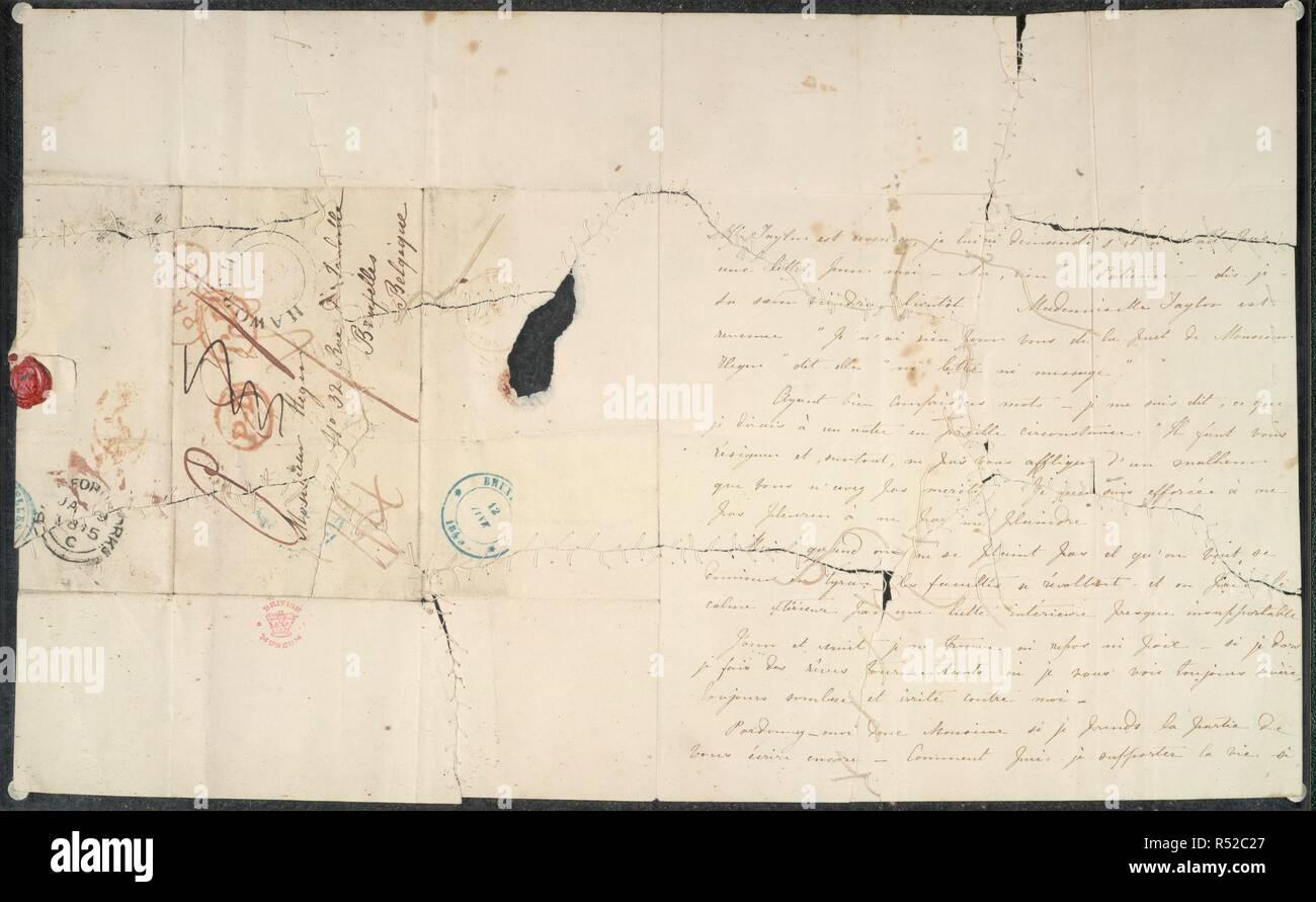 """Cuatro cartas de Charlotte BrontÃ"""" al profesor Constantin Heger. Cuatro cartas de Charlotte BrontÃ"""" al profesor Constantin Heger [el original de Pablo Emanuel en 'Villette'] ; el 24 de julio de 1844 - 18 de noviembre [1845?]. Francés. Que del 18 de noviembre tiene un postscript en inglés. Se describe, publicado y traducido por Marion H. Spielmann en The Times, 29 de julio de 1913 (véase también las cuestiones de los días 30 y 31 de julio). Las letras, tres de las cuales habían sido destruidas, se conservan por separado entre placas de vidrio. 24 Jul 1844-18 [Nov 1845?]. Fuente: Añadir. 38732.D. Idioma: Inglés/Francés. Foto de stock"""