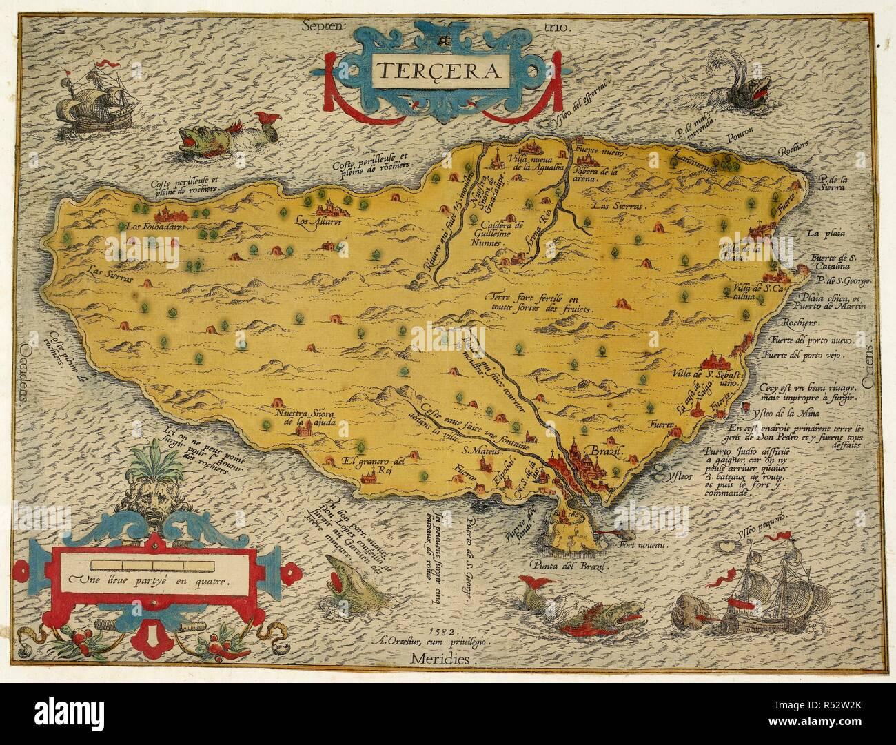 Mapa De La Isla De Tercera O En Las Islas Azores Terciera Cadena