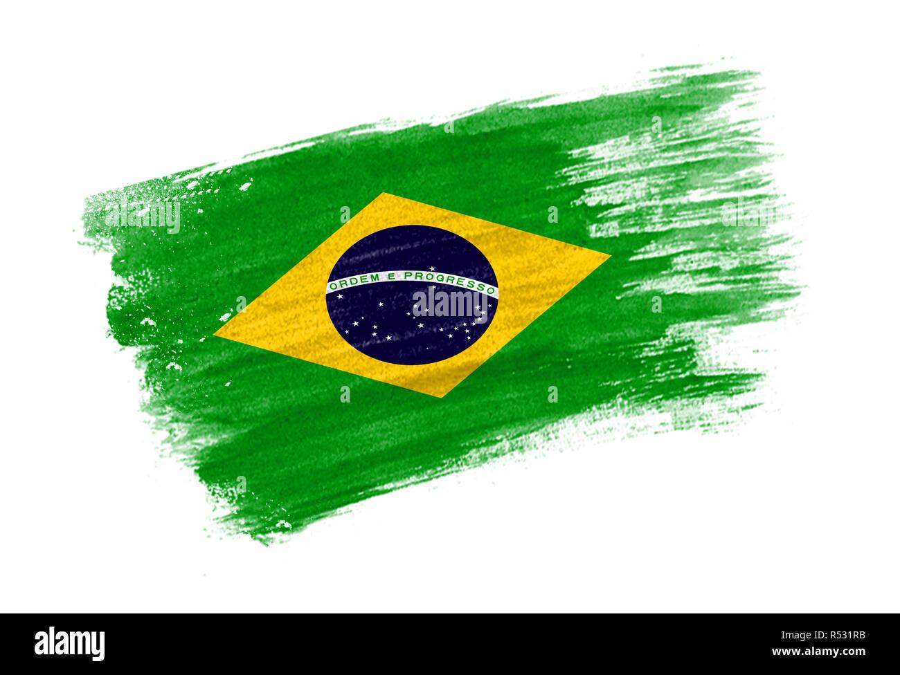 Pincel La Bandera De Brasil Estilo Dibujados A Mano La