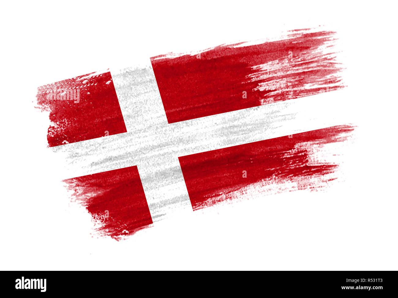 Pincel pabellón de Dinamarca. Estilo dibujados a mano pabellón de Dinamarca Foto de stock
