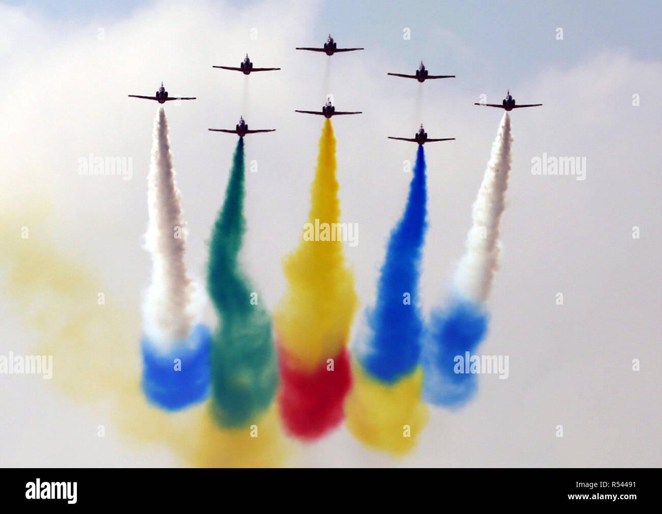 Zhuhai, China. 29 Nov, 2018. Las flechas rojas acrobático equipo realice en Zhuhai Airshow 2018 en Zhuhai, al sur de la Provincia china de Guangdong. Crédito: SIPA Asia/Zuma alambre/Alamy Live News Imagen De Stock