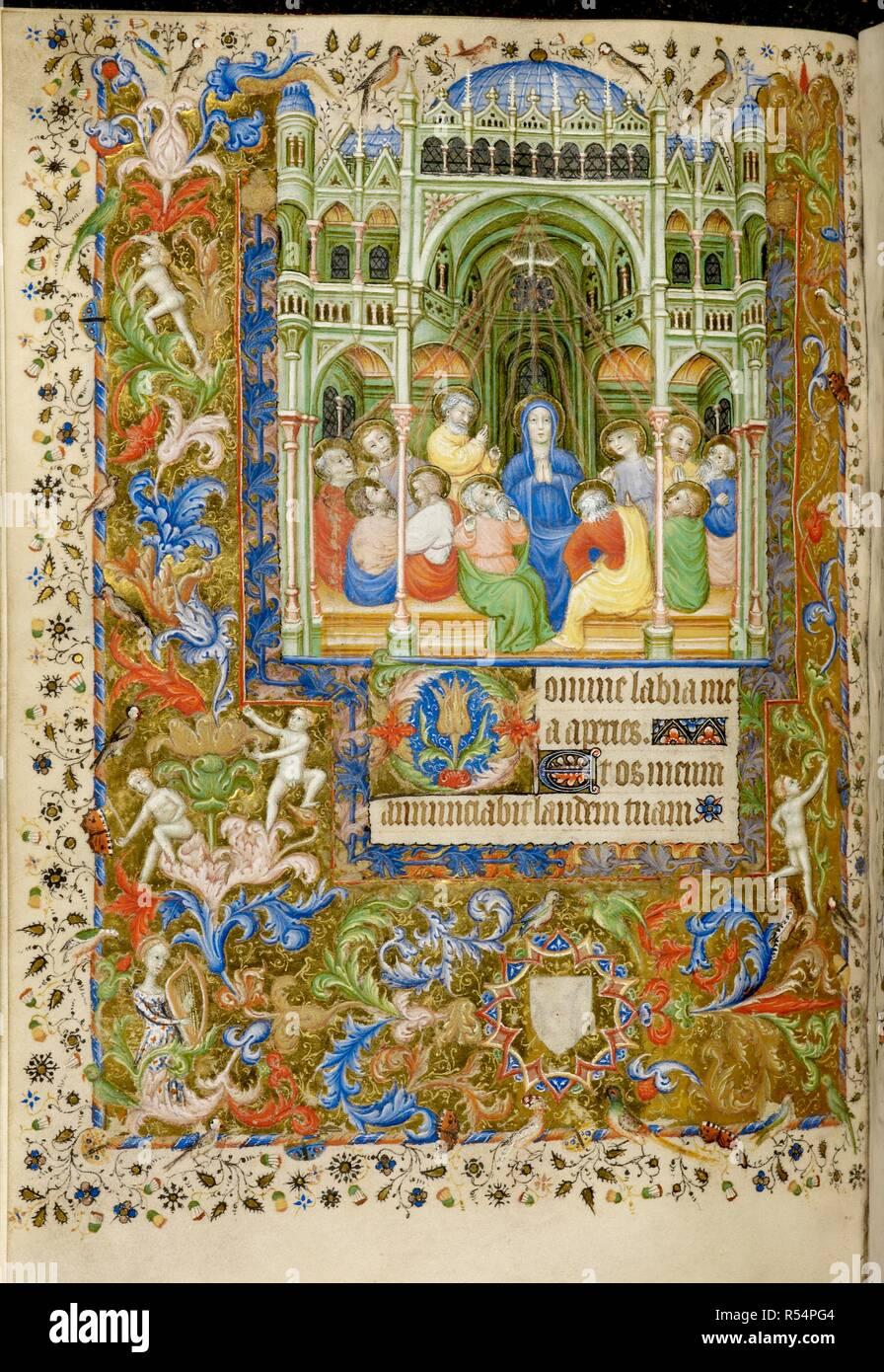 Pentecostés Libro De Horas Francia París Circa 1407 Folio