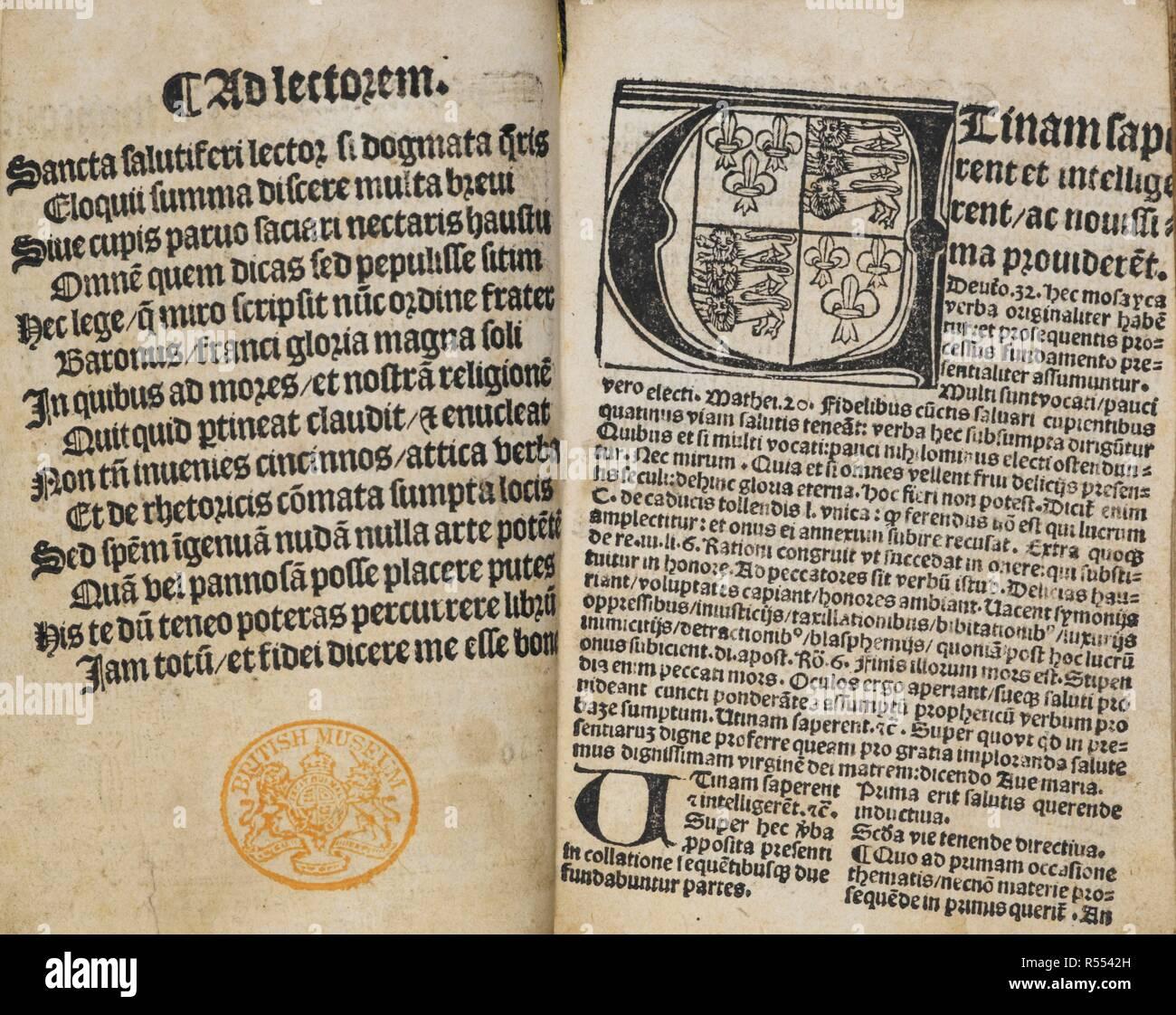 """""""Tractatulus de regimine principum seu caritate"""". Página doble de texto con un inicial adornada . Sermones Declamati coraÌ"""" alma vniuersitate CaÌ""""tibrigieÌ""""si, etc. B.L. loÌ""""donijs : ï"""" wynanduÌ"""" de Worde, [1510?]. Fuente: C.53.h.27 y sigs. [A1]v-[A2]. Foto de stock"""