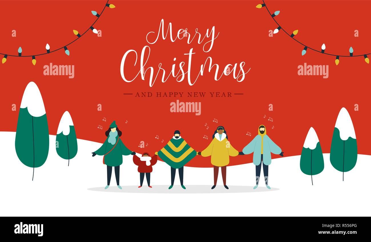 Villancico Feliz Navidad A Todos.Feliz Navidad Y Feliz Ano Nuevo Ilustracion De Diverso Grupo