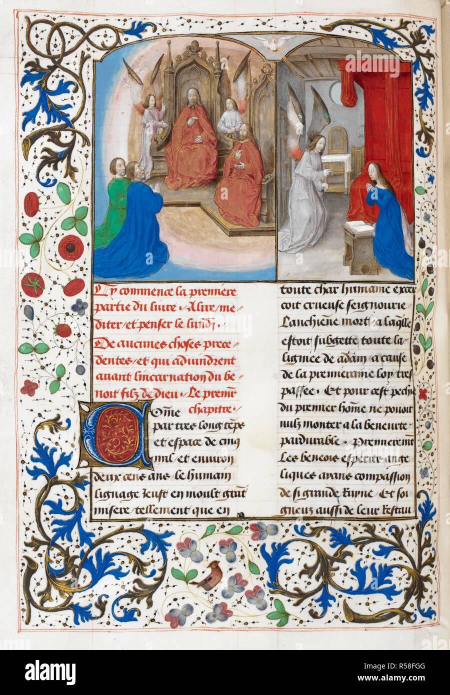 Miniatura De Dios El Padre Entronizado Con Cristo Y Dos Figuras