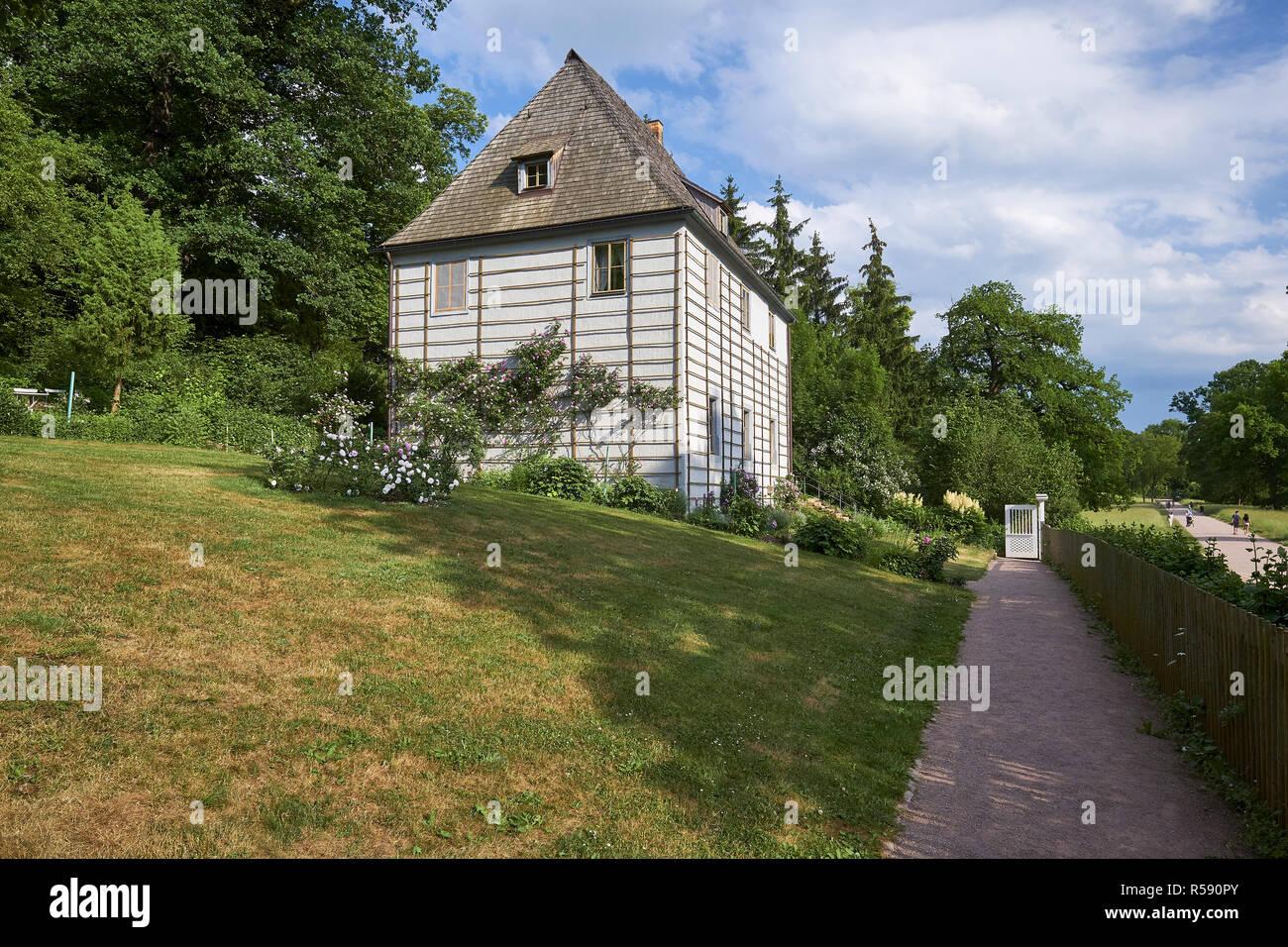 Goethe Garden House en el parque del ILM, Weimar, Turingia Foto de stock