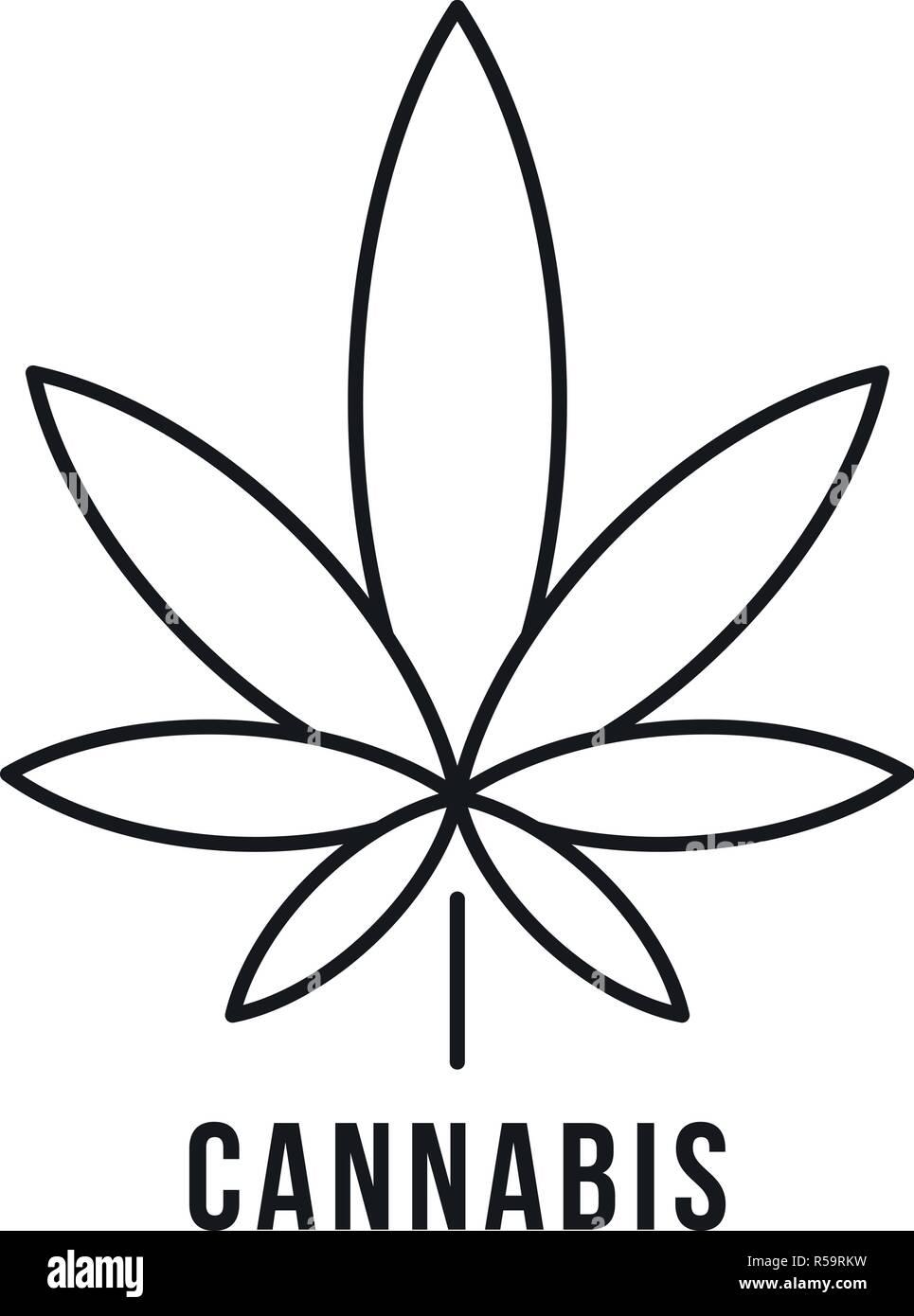 Logotipo De Hoja De Cannabis Fresco Esquema De Hojas De